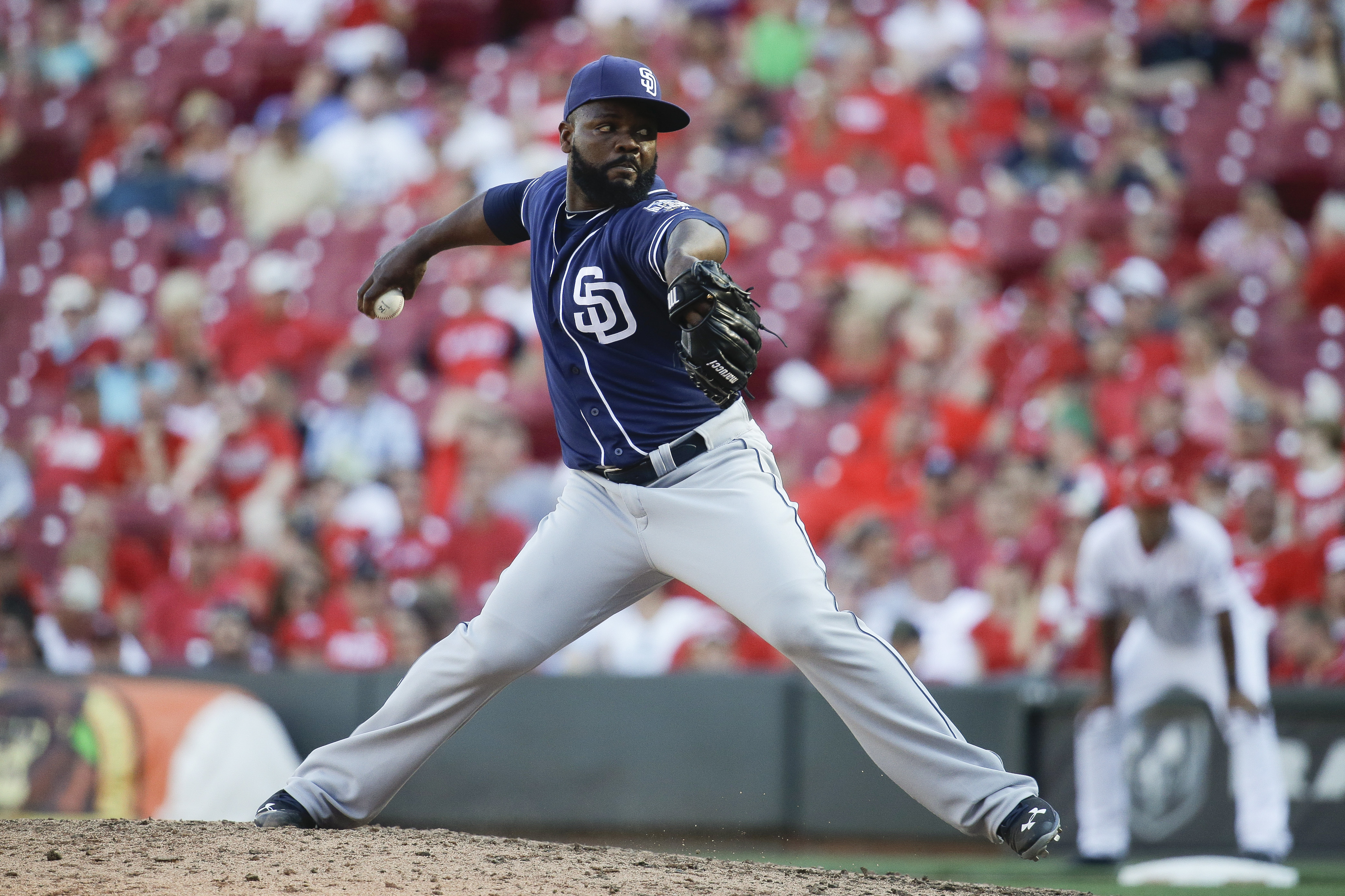 San Diego Padres relief pitcher Fernando Rodney throws in the ninth inning of a baseball game against the Cincinnati Reds, Saturday, June 25, 2016, in Cincinnati. (AP Photo/John Minchillo)
