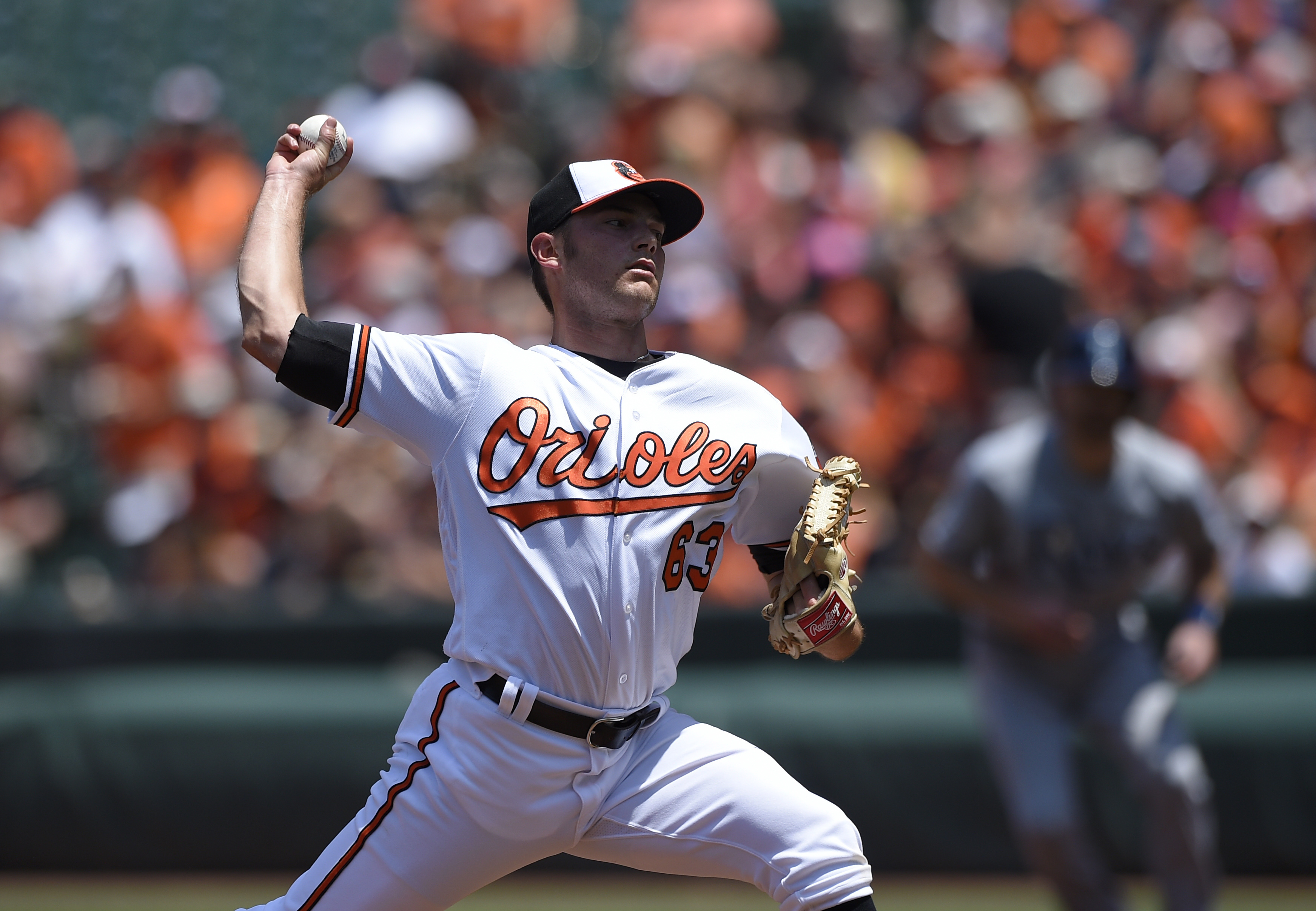 Baltimore Orioles starting pitcher Tyler Wilson delivers during the first inning of a baseball game against the Tampa Bay Rays, Sunday, June 26, 2016, in Baltimore. (AP Photo/Nick Wass)