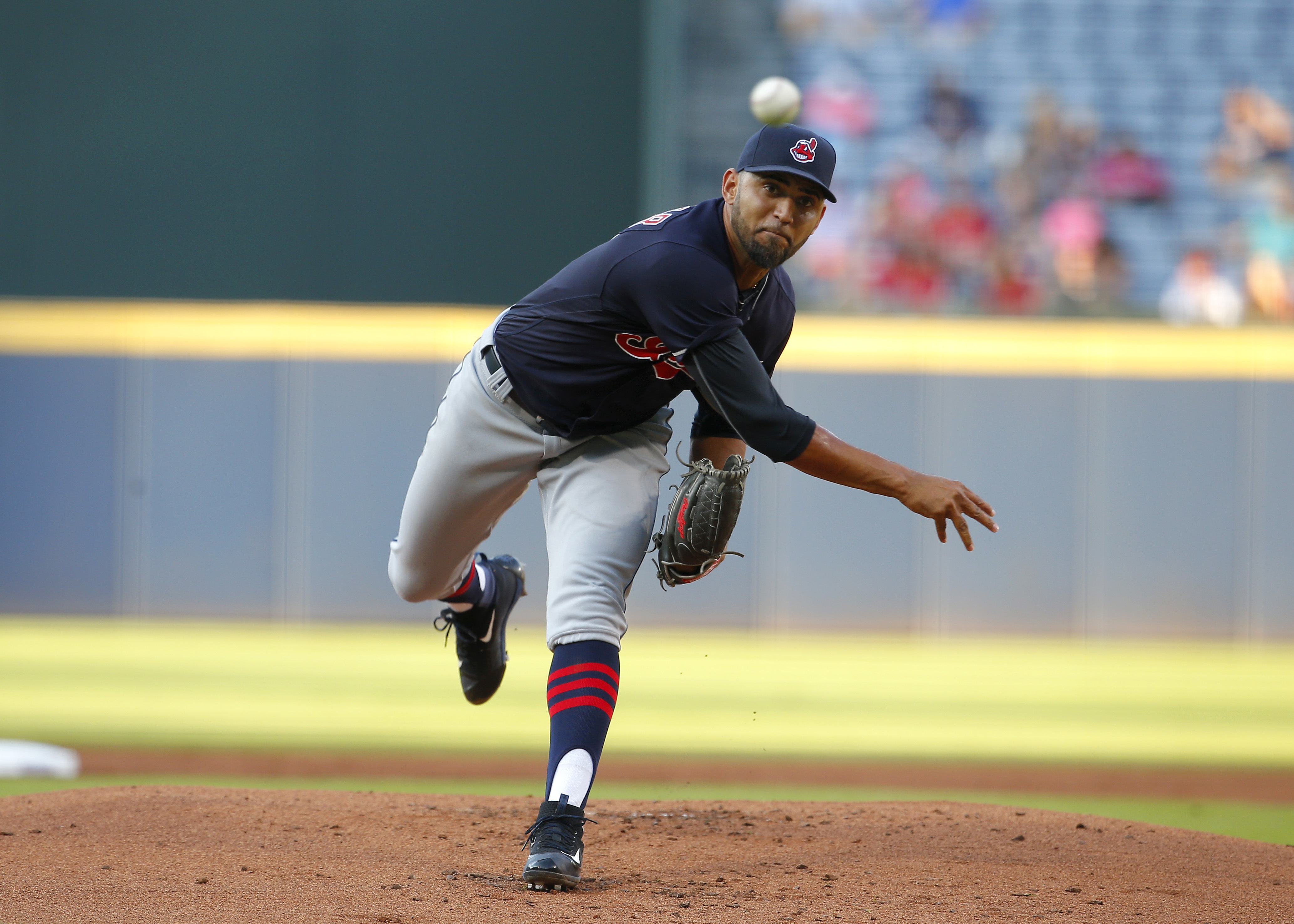 Cleveland Indians starting pitcher Danny Salazar delivers in the first inning of a baseball game against the Atlanta Braves, Wednesday, June 29, 2016, in Atlanta. (AP Photo/Todd Kirkland)
