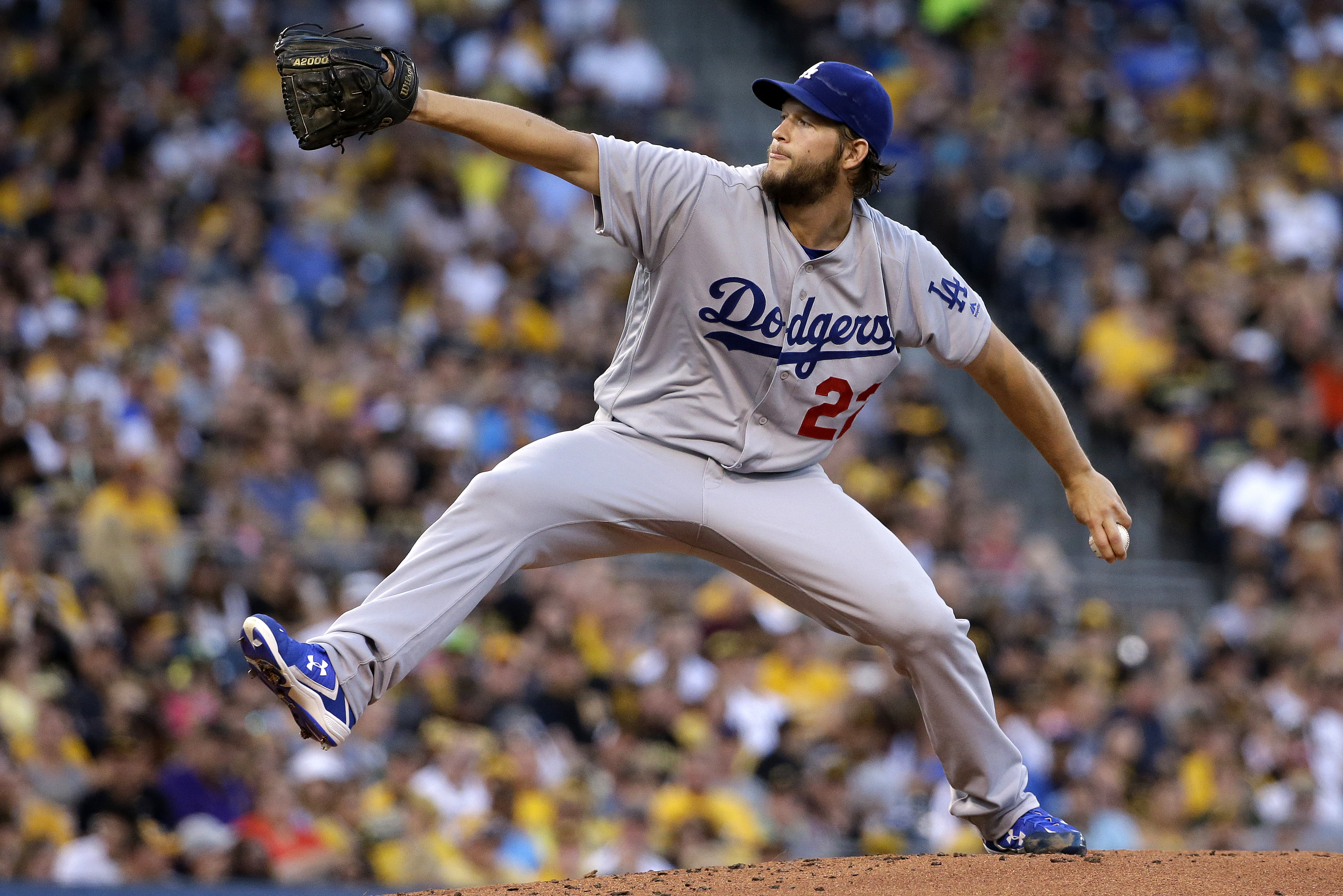 FILE - In this June 26, 2016, file photo, Los Angeles Dodgers starting pitcher Clayton Kershaw delivers in the first inning of a baseball game against the Pittsburgh Pirates in Pittsburgh. Kershaw received an epidural injection for his sore lower back and