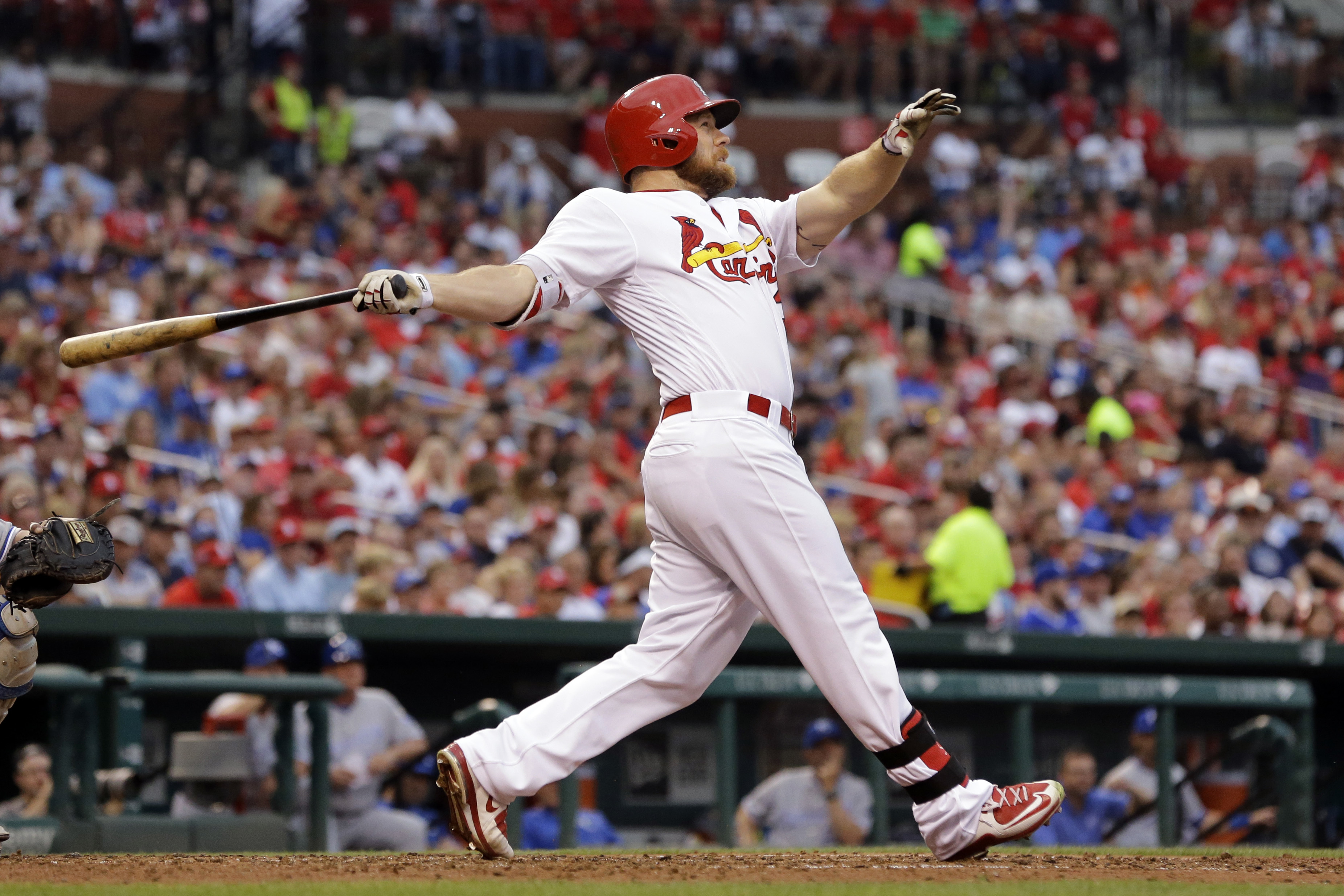 St. Louis Cardinals' Brandon Moss watches his solo home run during the fourth inning of a baseball game against the Kansas City Royals on Thursday, June 30, 2016, in St. Louis. (AP Photo/Jeff Roberson)