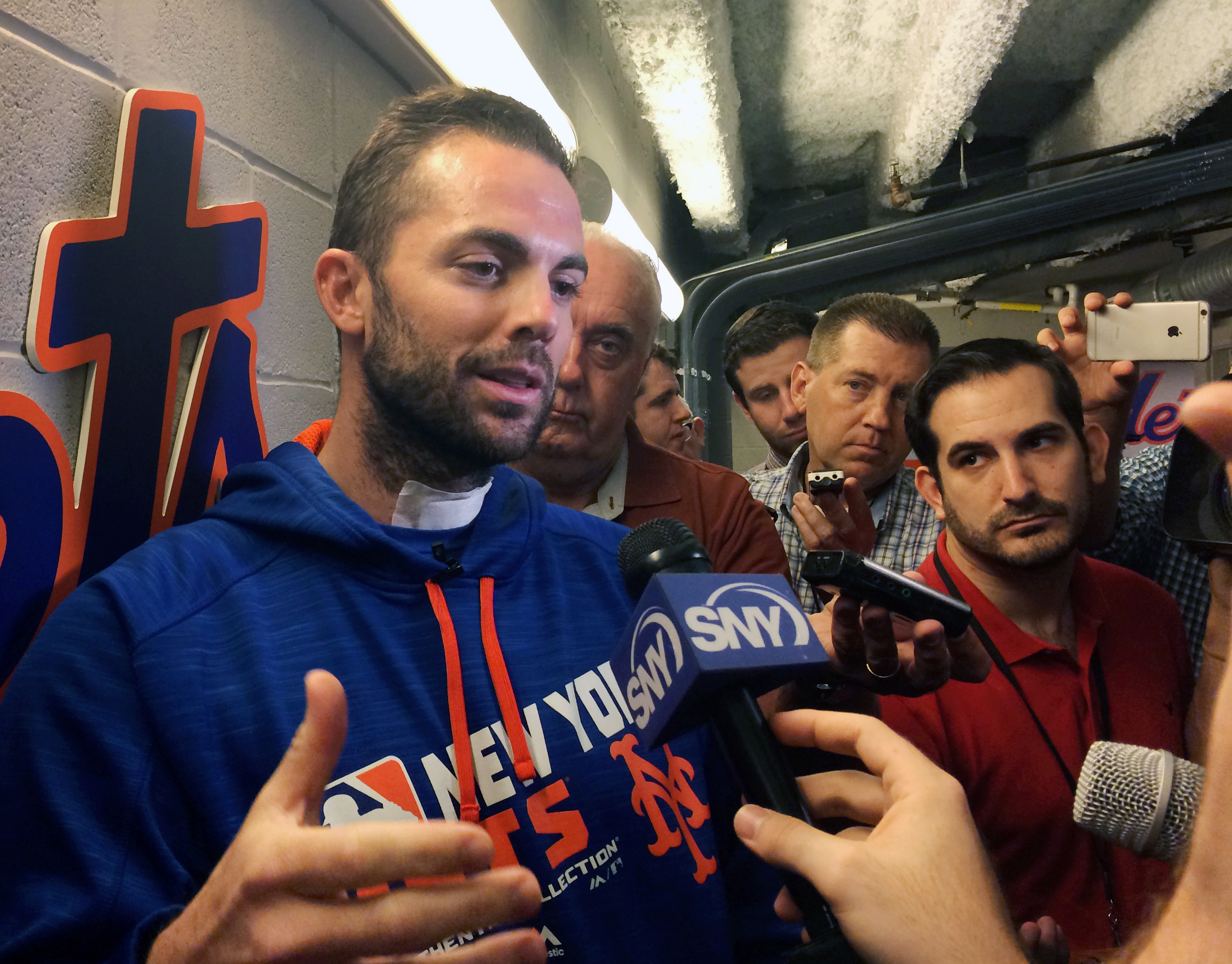 New York Mets' third baseman David Wright speaks to the media before a baseball game against the Chicago Cubs at Citi Field in New York, Friday, July 1, 2016. Wright made his first public appearance at Citi Field since undergoing neck surgery to repair a