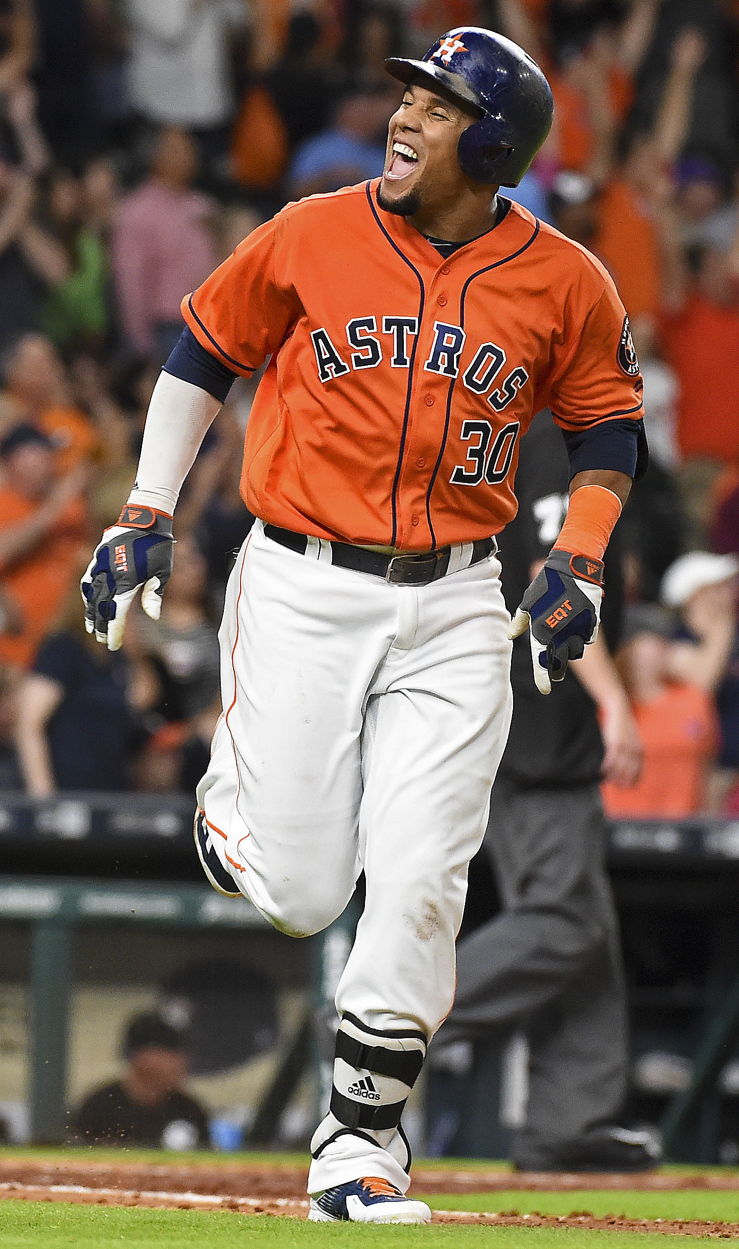 Houston Astros' Carlos Gomez reacts after hitting a two-run home run off Chicago White Sox starting pitcher Miguel Gonzalez in the seventh inning of a baseball game, Friday, July 1, 2016, in Houston. (AP Photo/Eric Christian Smith)