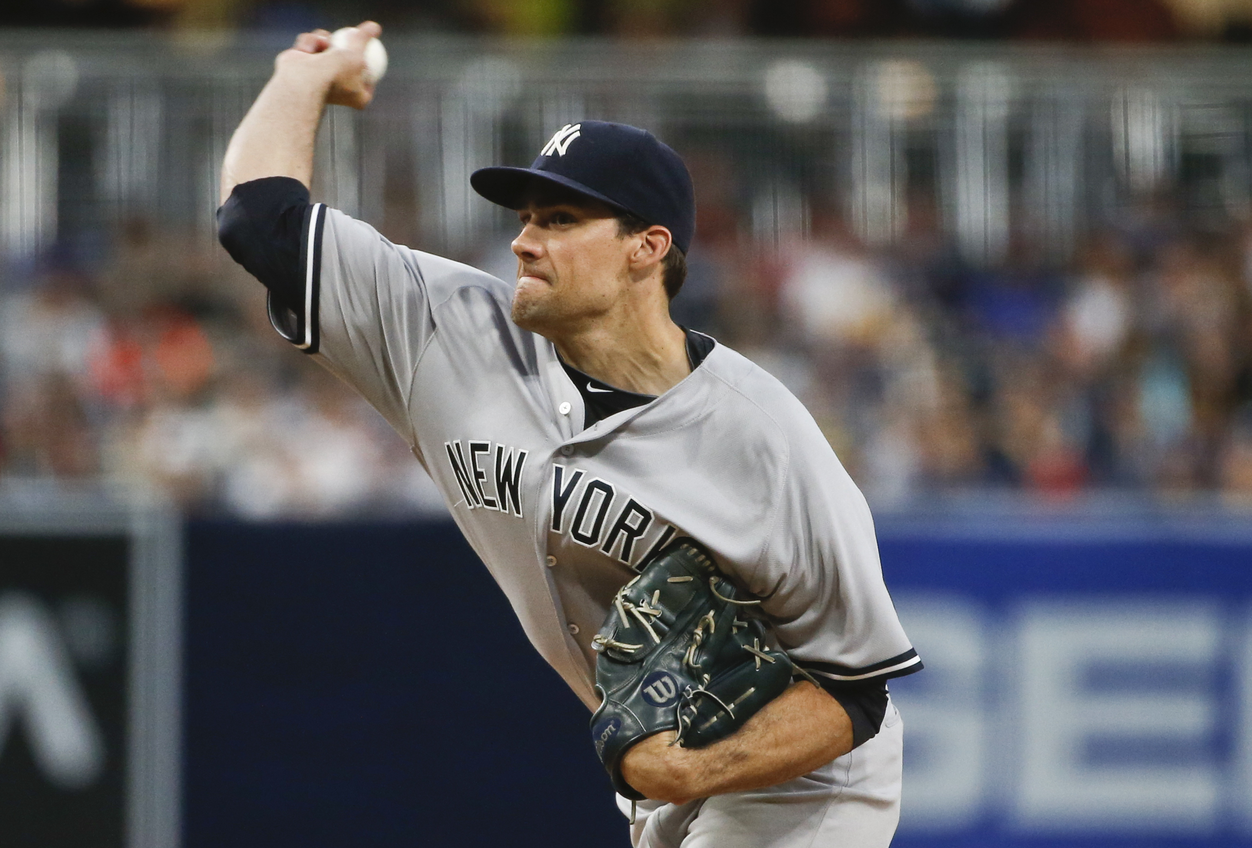 New York Yankees starting pitcher Nathan Eovaldi works against the San Diego Padres during the first inning of a baseball game Friday, July 1, 2016, in San Diego. (AP Photo/Lenny Ignelzi)
