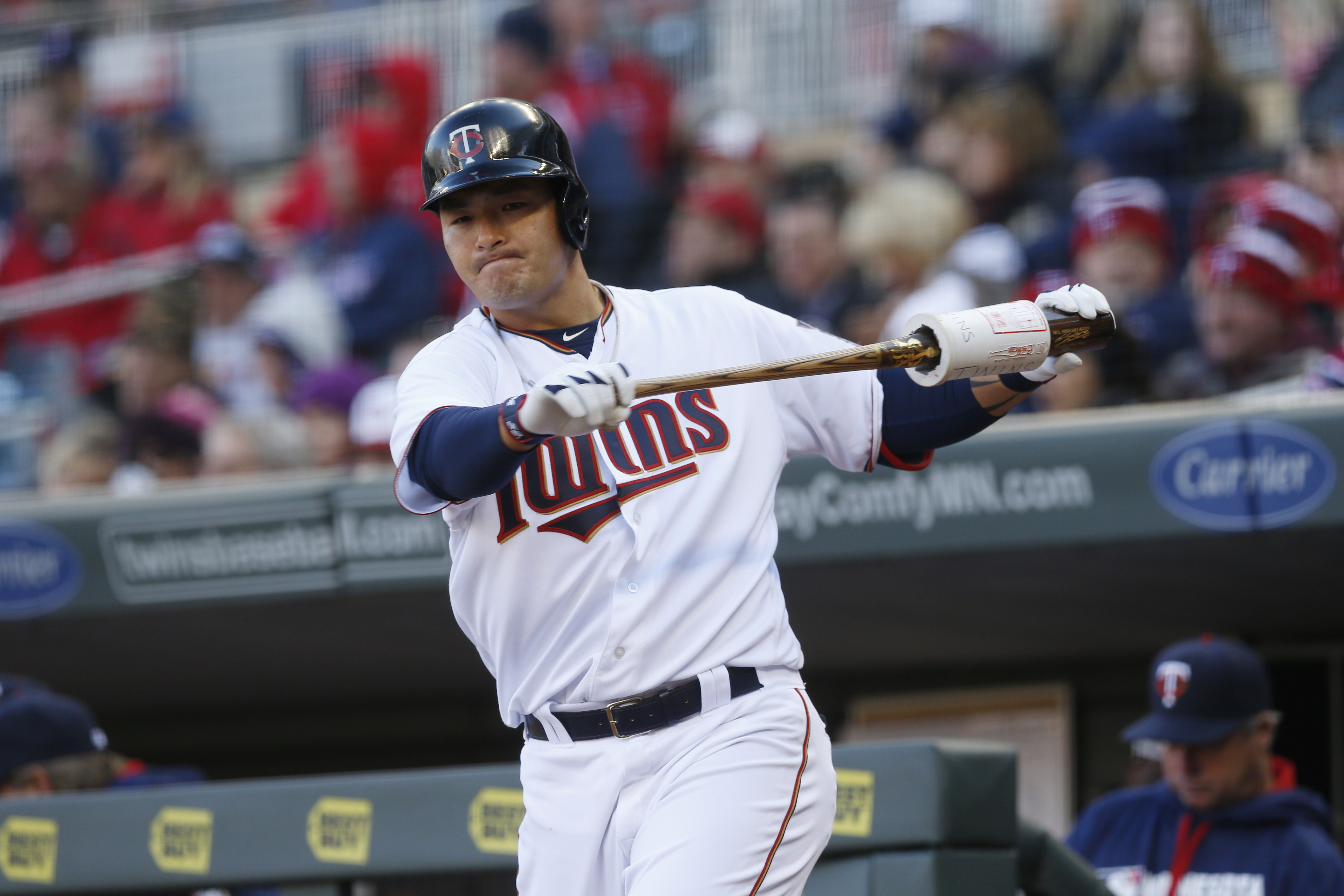 FILE - In this April 11, 2016, file phot, Minnesota Twins' Byung Ho Park, of South Korea, warms up on deck during a baseball game against the Chicago White Sox in Minneapolis.  Park came into MLB as a Korean baseball star, but he's playing more like a roo