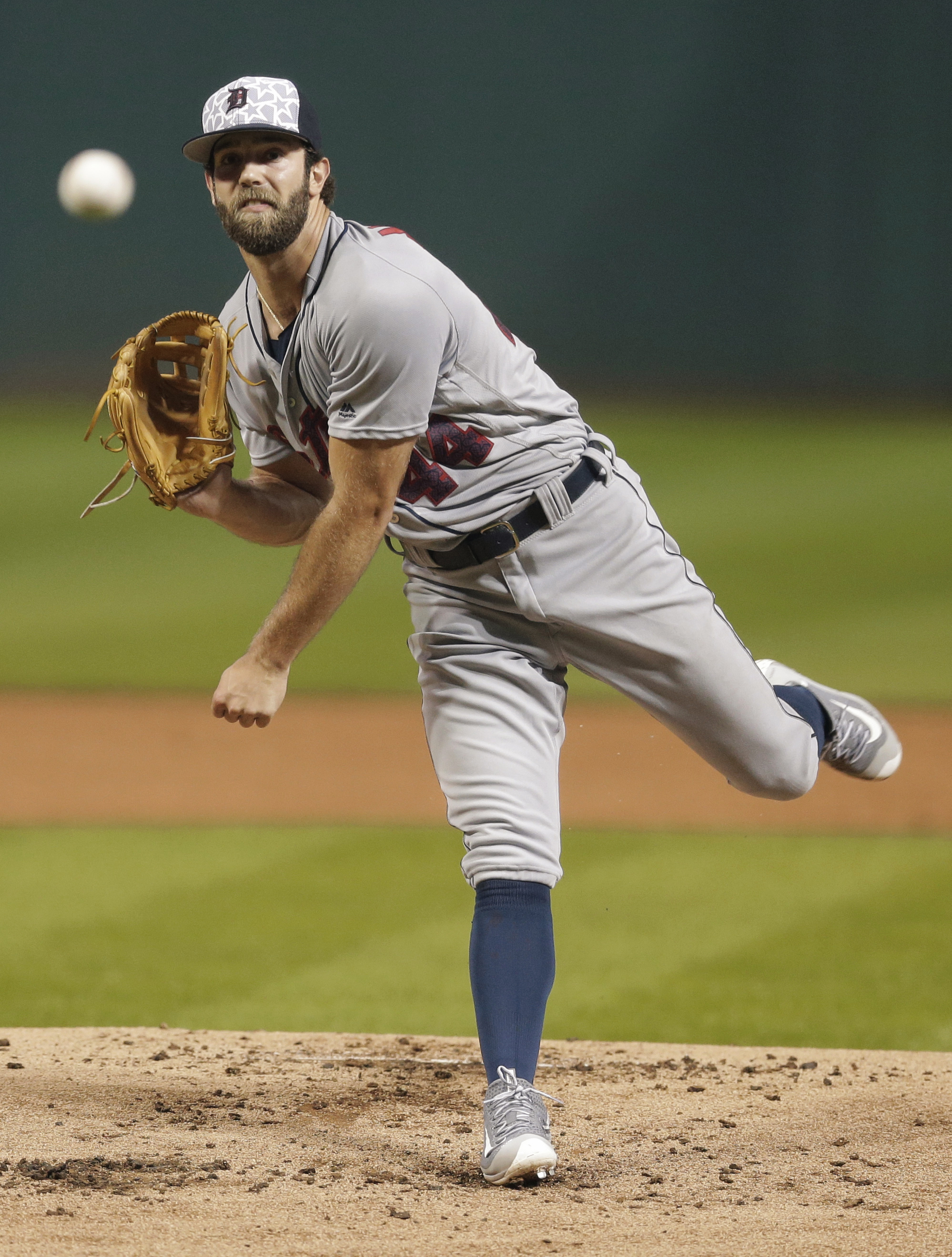 Detroit Tigers starting pitcher Daniel Norris delivers in the first inning of a baseball game against the Cleveland Indians, Monday, July 4, 2016, in Cleveland. (AP Photo/Tony Dejak)