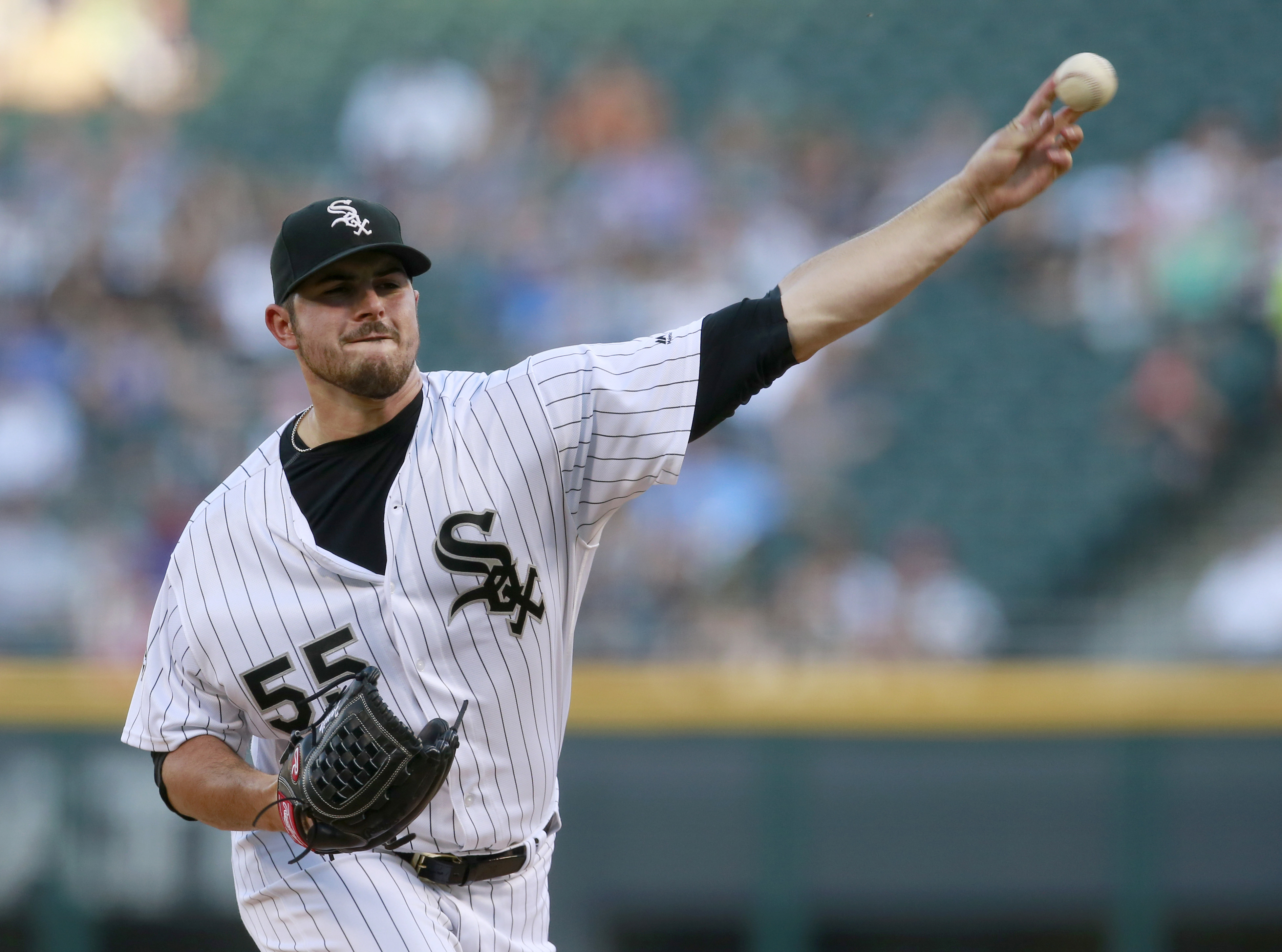 Chicago White Sox starting pitcher Carlos Rodon delivers during the first inning of a baseball game against the New York Yankees in Chicago, Tuesday, July 5, 2016. (AP Photo/Jeff Haynes)