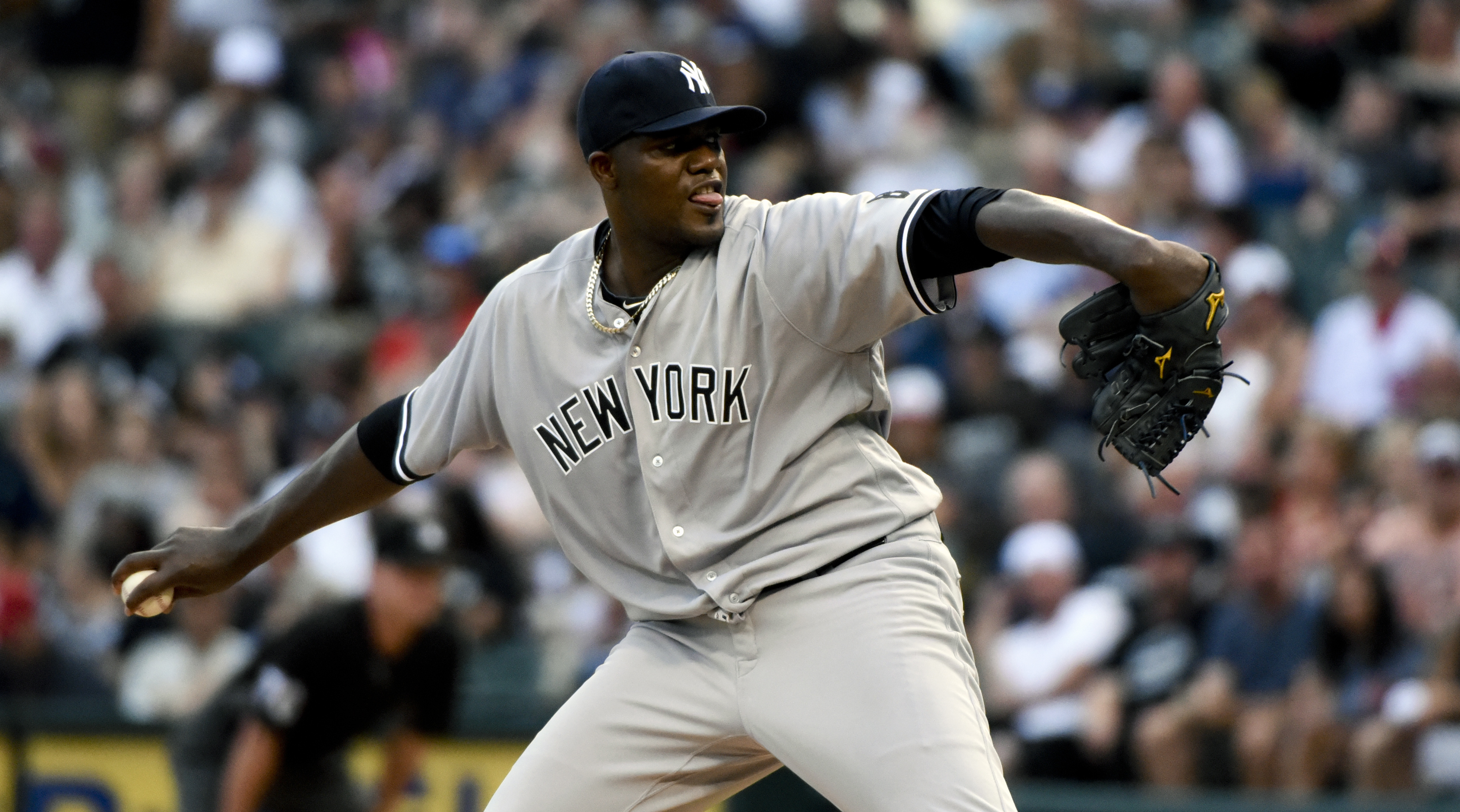 New York Yankees starting pitcher Michael Pineda delivers against the Chicago White Sox during the first inning of a baseball game in Chicago on Wednesday, July 6, 2016. (AP Photo/Matt Marton)