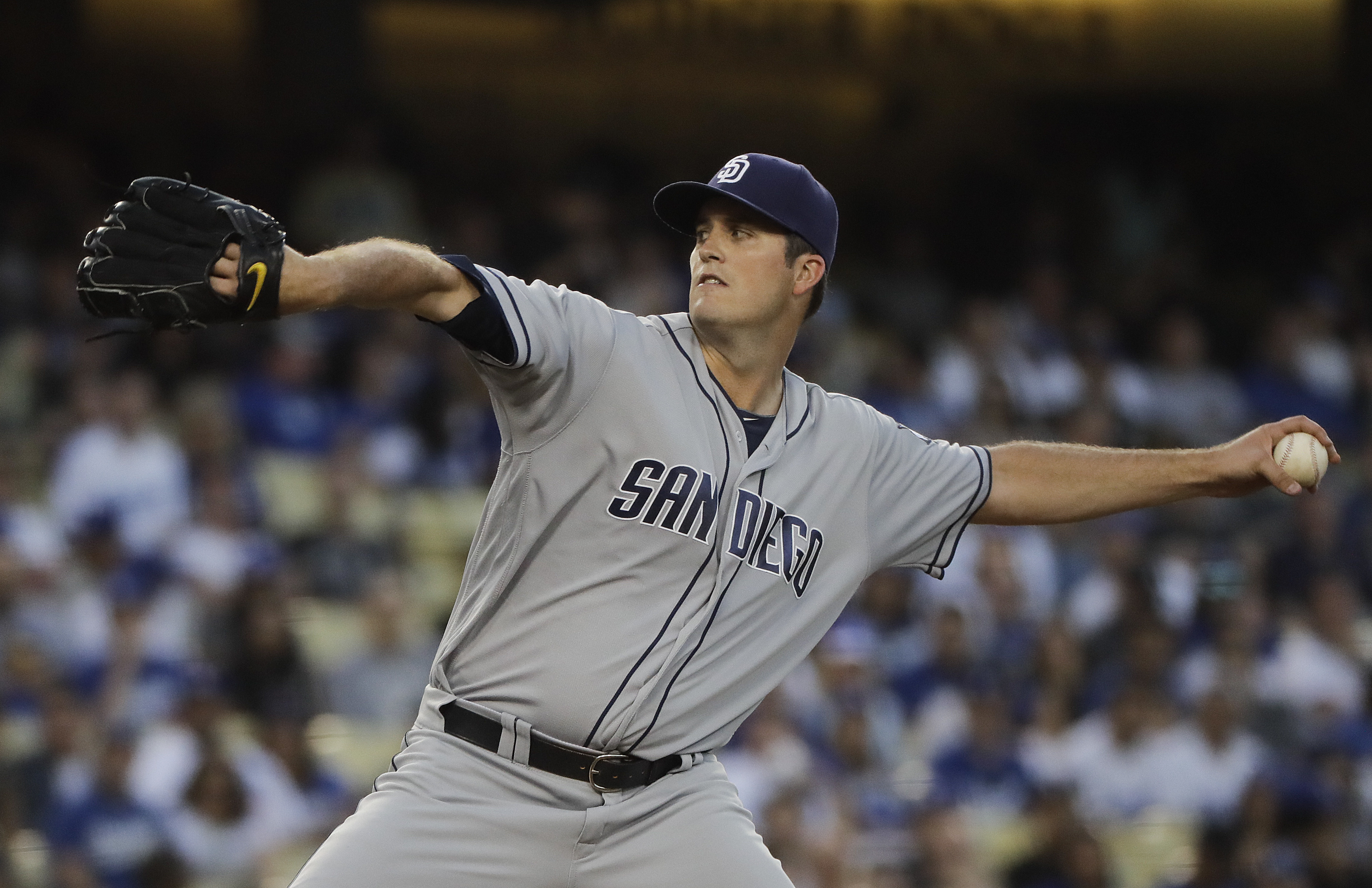 San Diego Padres starting pitcher Drew Pomeranz throws against the Los Angeles Dodgers during the second inning of a baseball game, Thursday, July 7, 2016, in Los Angeles. (AP Photo/Jae C. Hong)