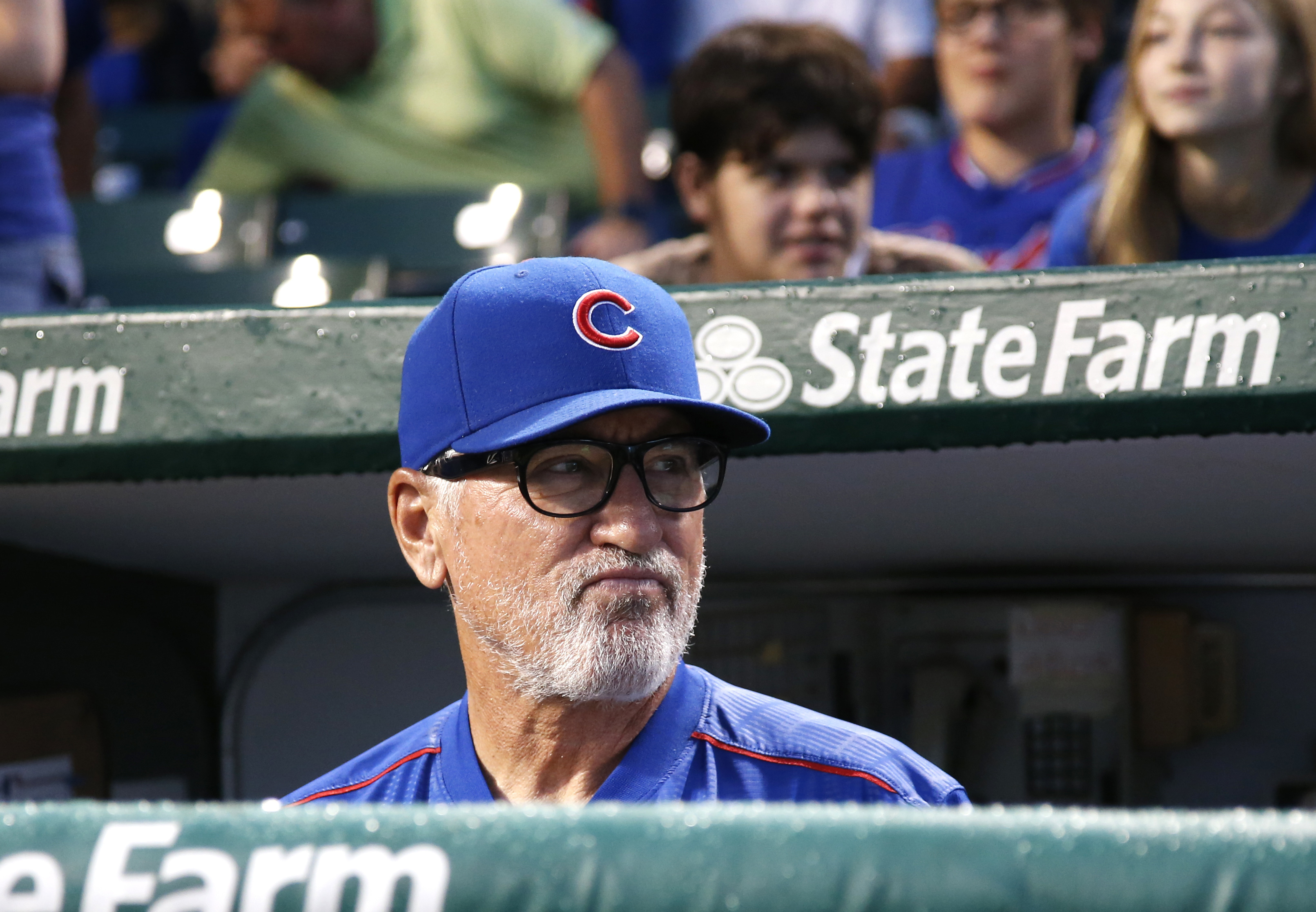 Chicago Cubs manager Joe Maddon looks to the field before a baseball game against the Atlanta Braves Thursday, July 7, 2016, in Chicago. (AP Photo/Nam Y. Huh)