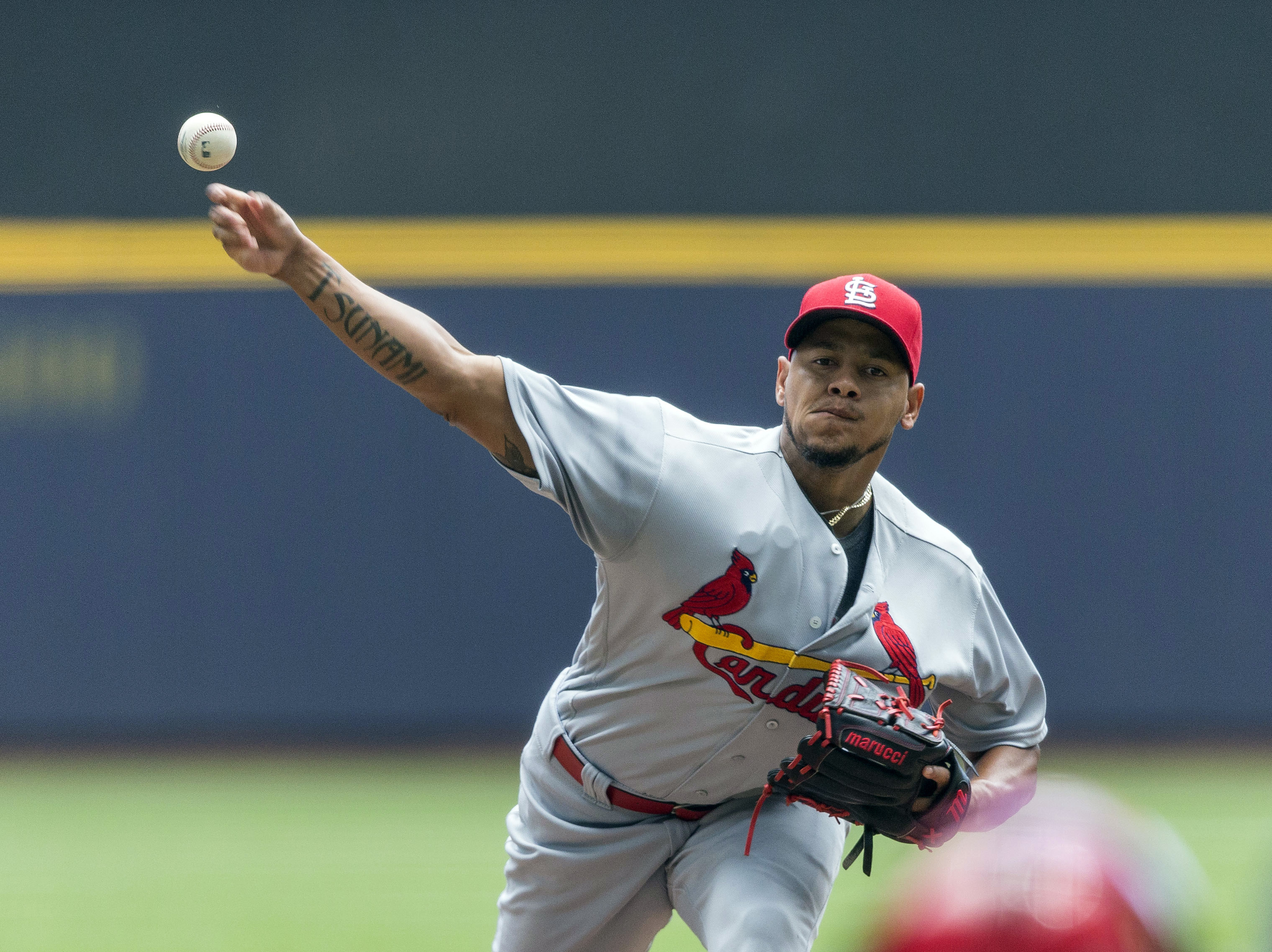 St. Louis Cardinals' Carlos Martinez pitches to a Milwaukee Brewers' batter during the first inning of a baseball game Saturday, July 9, 2016, in Milwaukee. (AP Photo/Tom Lynn)