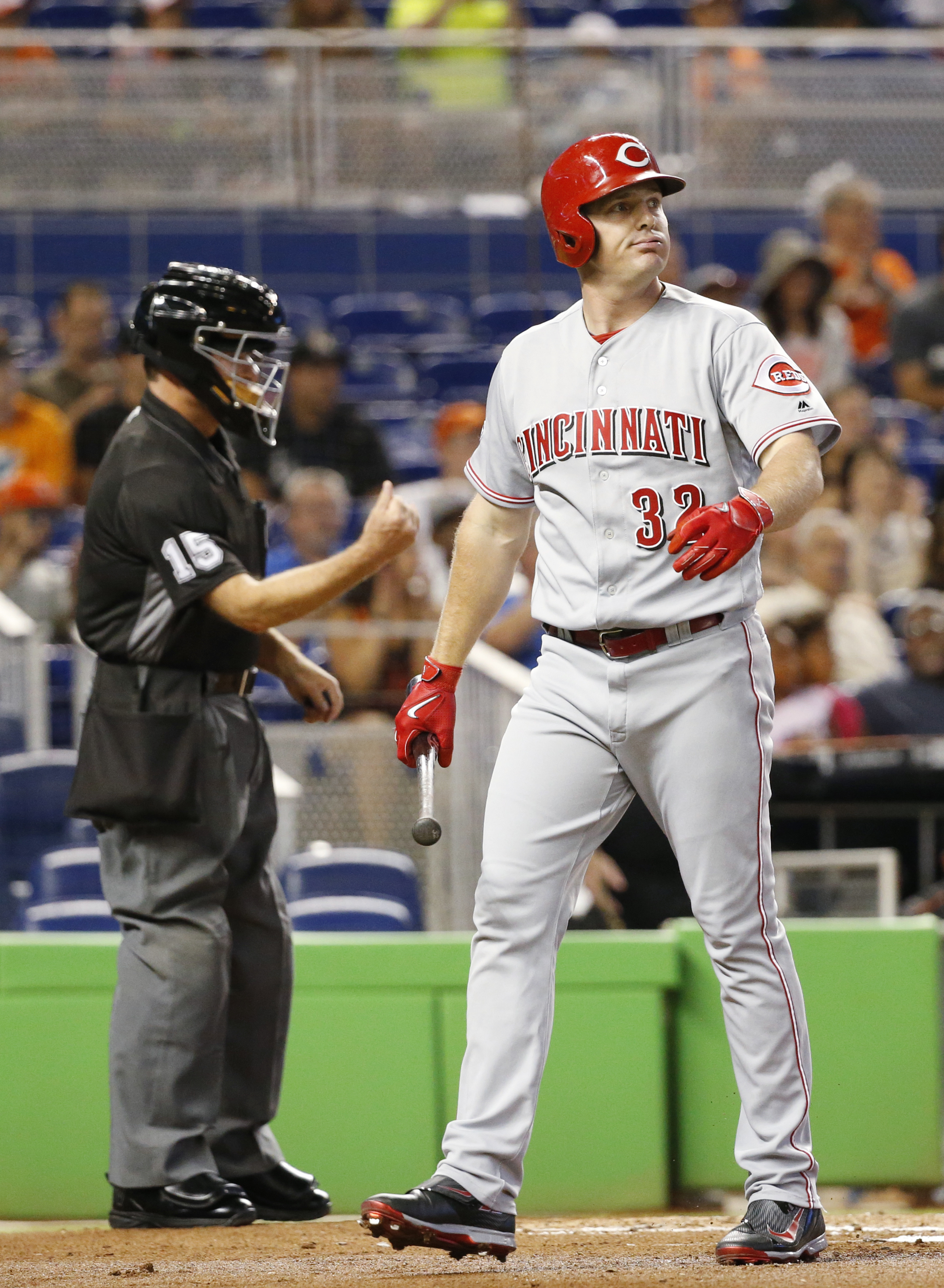 Cincinnati Reds' Jay Bruce  reacts after striking out during the first inning of a baseball game against the Miami Marlins, Saturday, July 9, 2016, in Miami. (AP Photo/Wilfredo Lee)