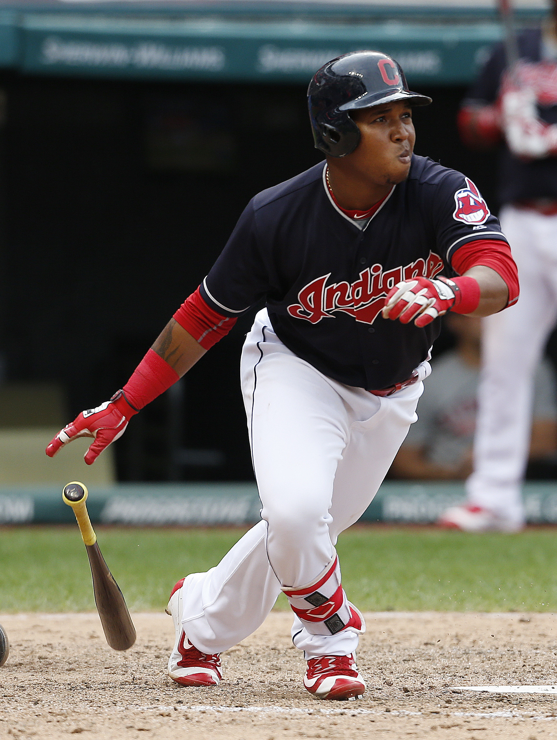 Cleveland Indians' Jose Ramirez hits an RBI-single off New York Yankees relief pitcher Dellin Betances during the seventh inning of a baseball game Saturday, July 9, 2016, in Cleveland. (AP Photo/Ron Schwane)