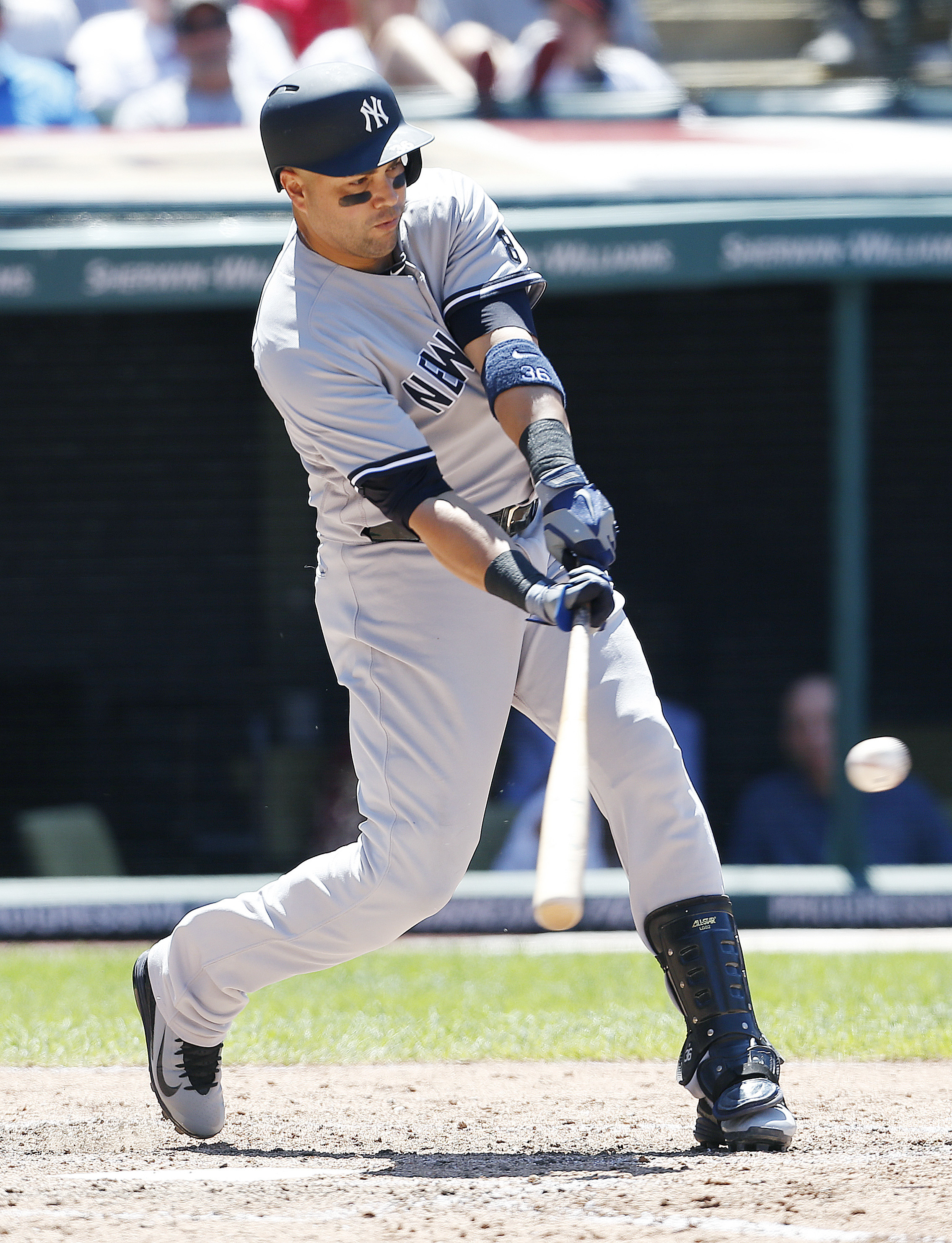 New York Yankees' Carlos Beltran hits an RBI-single off Cleveland Indians relief pitcher TJ House during the fifth inning of a baseball game Sunday, July 10, 2016, in Cleveland. (AP Photo/Ron Schwane)