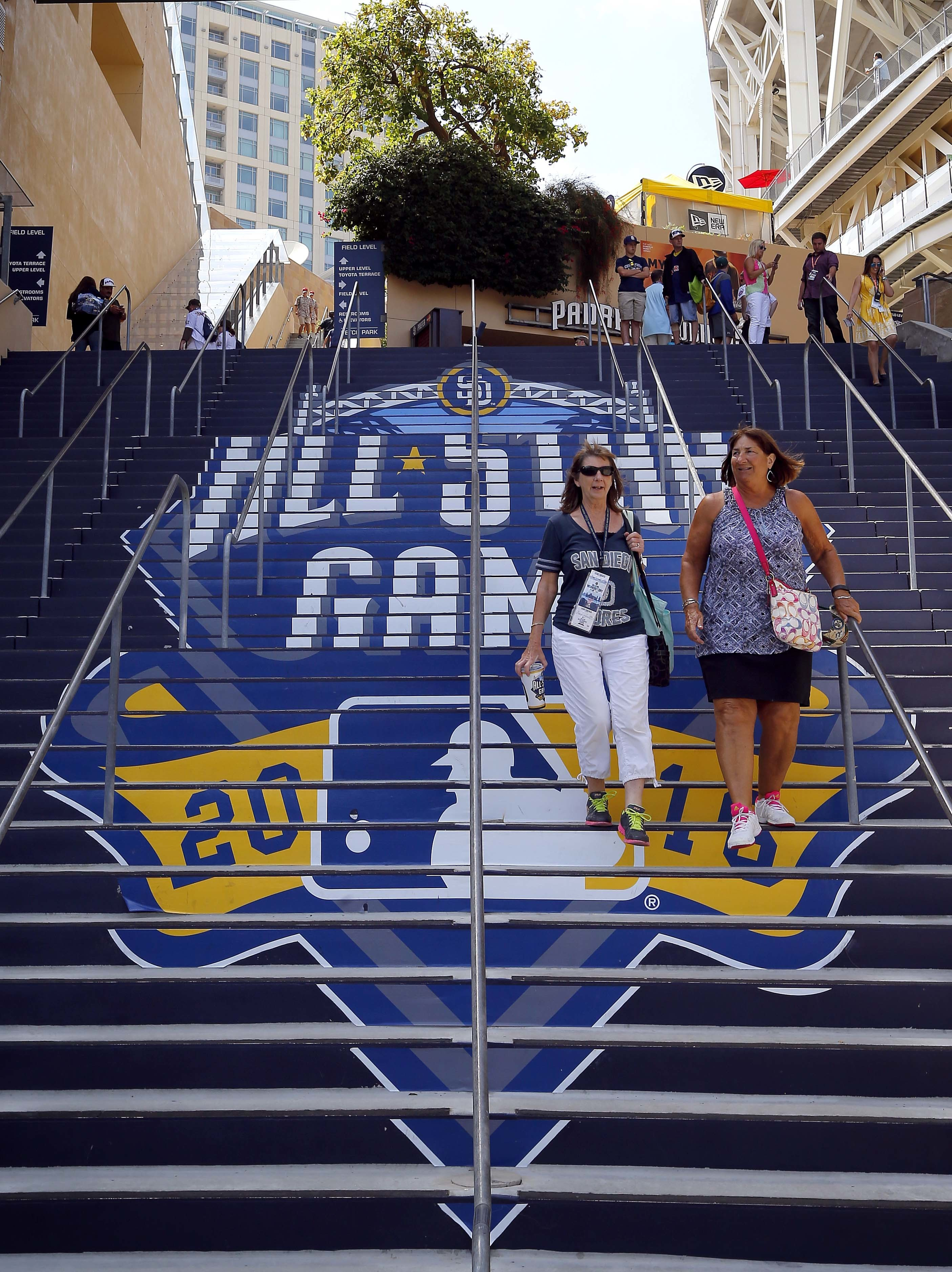 Fans arrive at Petco Park prior to the MLB All-Star baseball Home Run Derby, Monday, July 11, 2016, in San Diego. (AP Photo/Matt York)