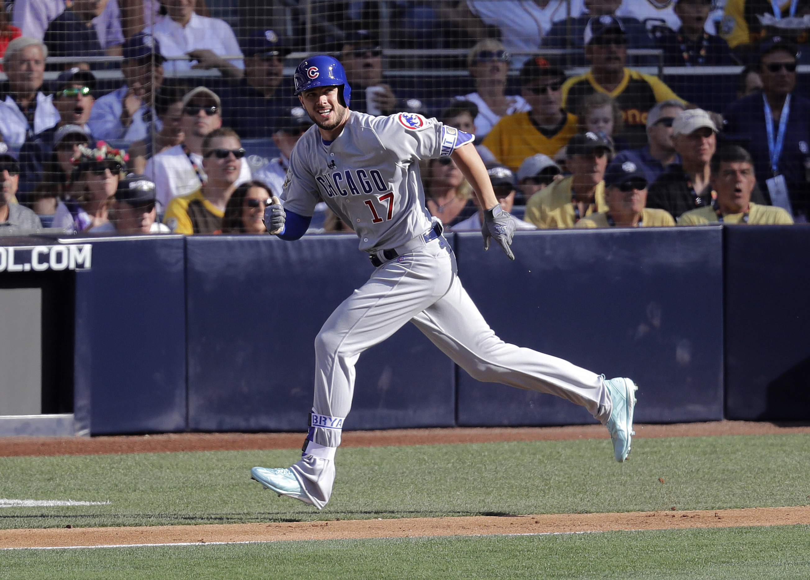 National League's Kris Bryant, of the Chicago Cubs, rounds the bases after hitting a solo home run during the first inning of the MLB baseball All-Star Game against the American League, Tuesday, July 12, 2016, in San Diego. (AP Photo/Jae C. Hong)