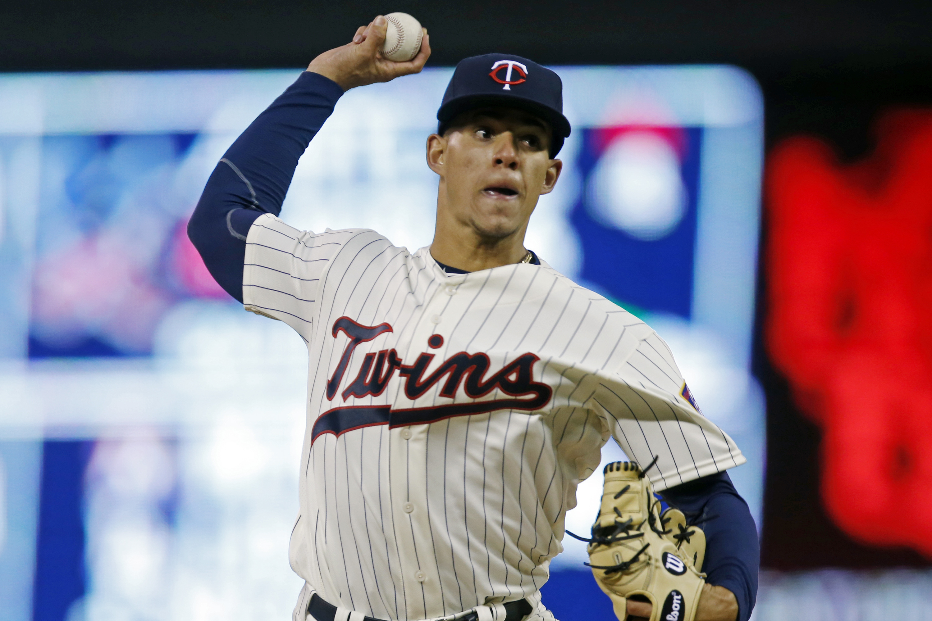 FILE- In this April 27, 2016, file photo, Minnesota Twins pitcher Jose Berrios throws against the Cleveland Indians during the first inning of a baseball game in Minneapolis. Berrios, who has already made four starts in the majors this season, will be pla