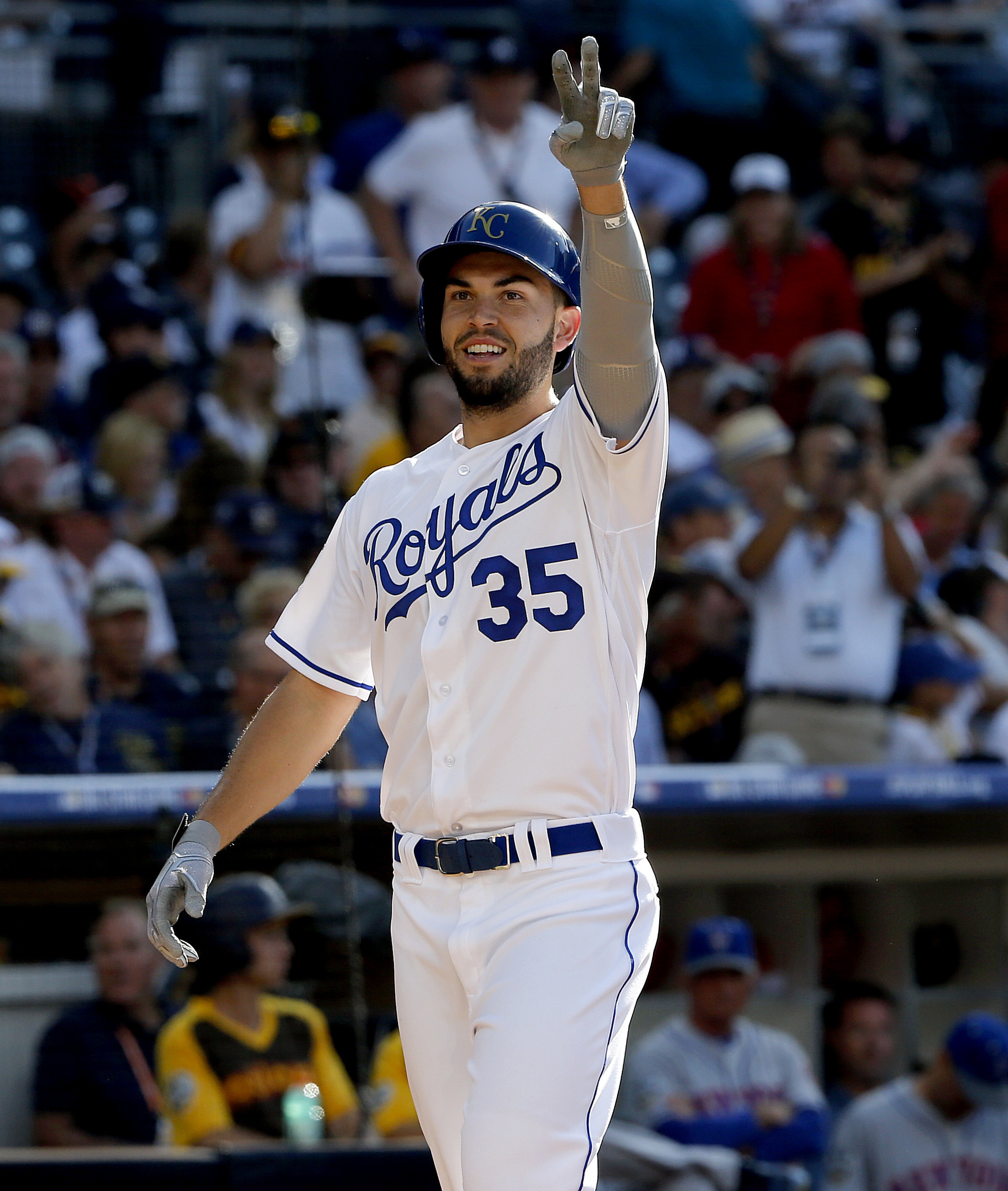 American League's Eric Hosmer, of the Kansas City Royals, celebrates his solo home run against the National League during the second inning of the MLB baseball All-Star Game, Tuesday, July 12, 2016, in San Diego. (AP Photo/Lenny Ignelzi)