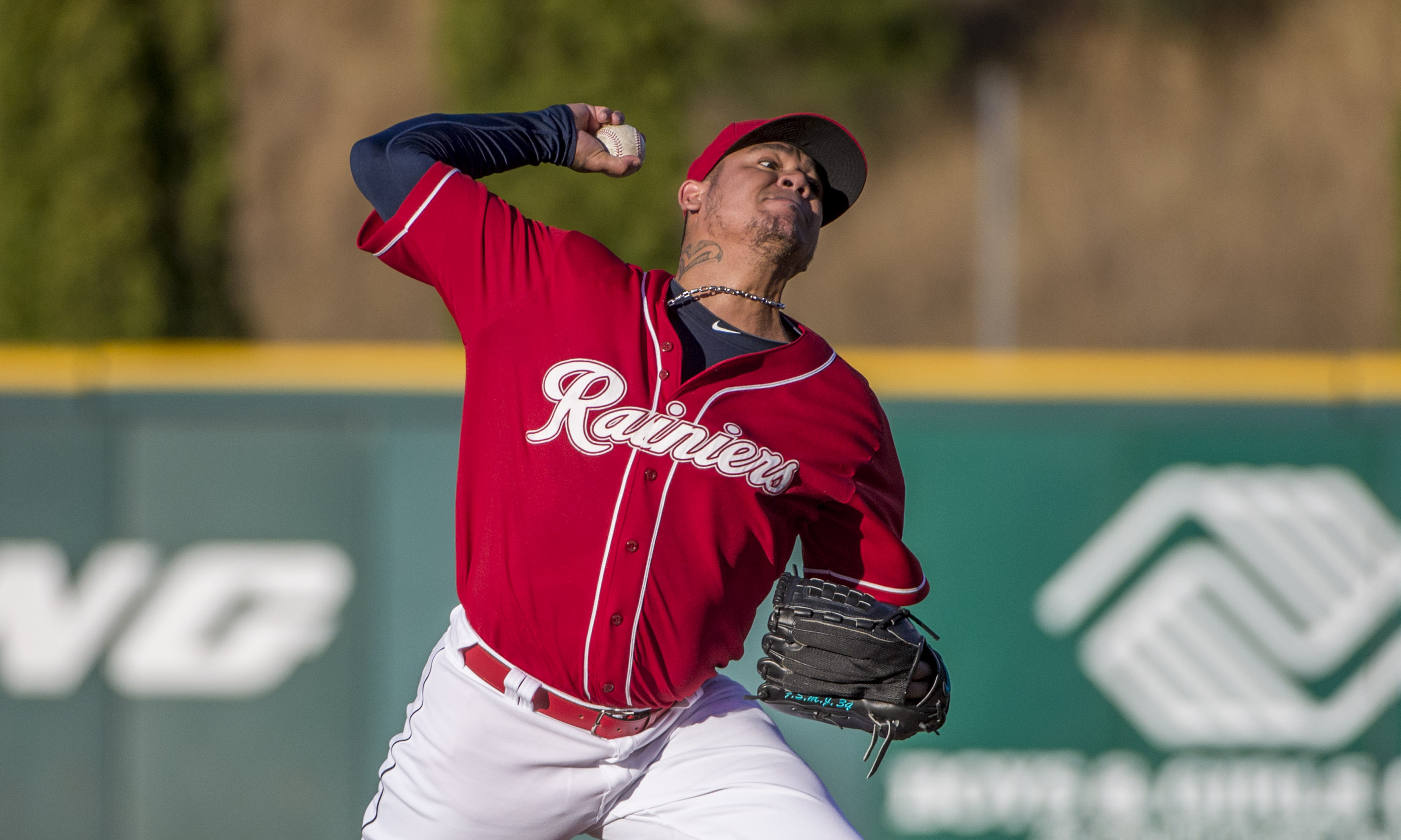 Seattle Mariners pitcher Felix Hernandez plays for the Tacoma Rainiers against the Colorado Springs Sky Sox on a rehab assignment, Friday, July 15, 2016, in Tacoma, Wash.  (Peter Haley/The News Tribune via AP)