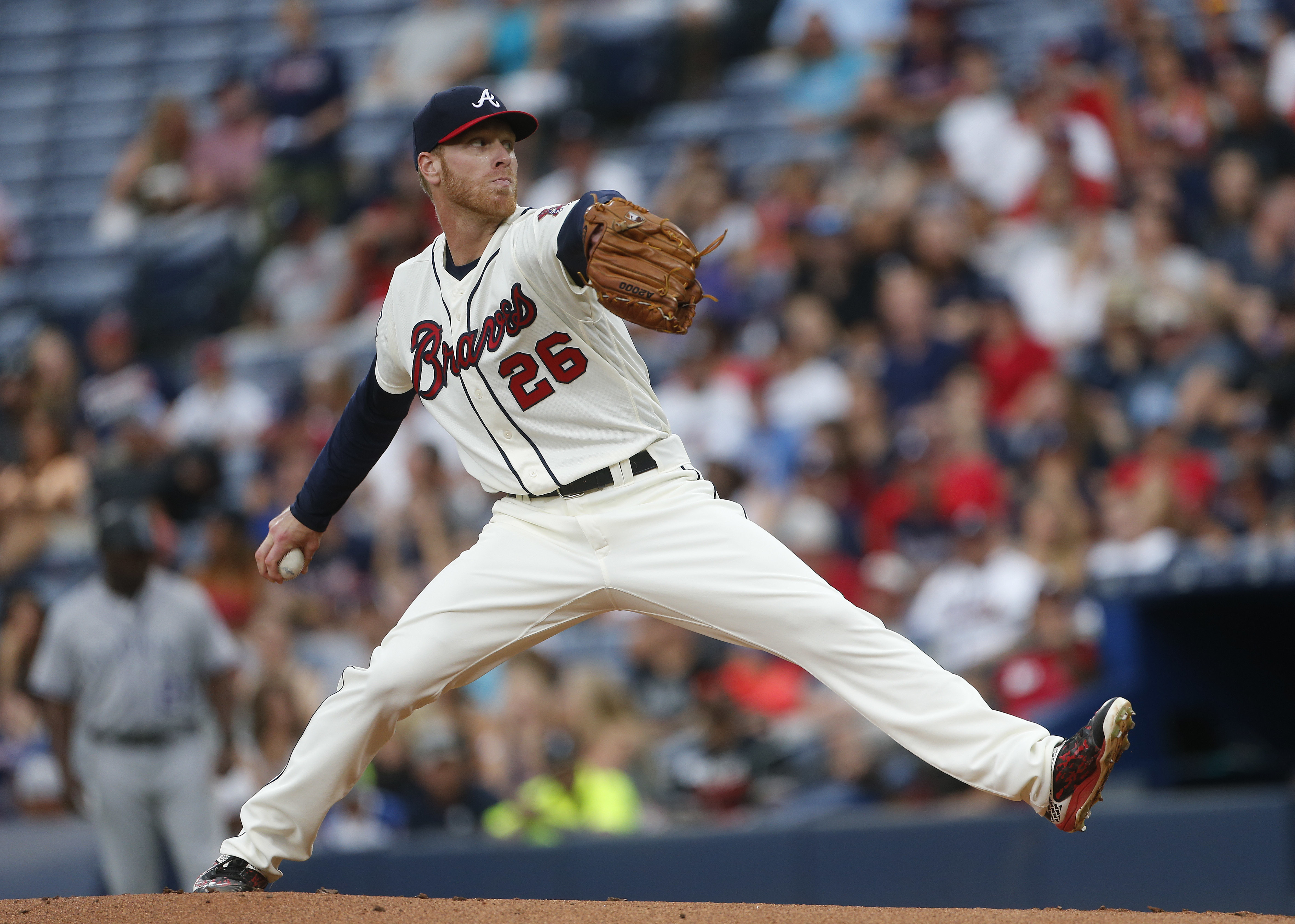Atlanta Braves starting pitcher Mike Foltynewicz works in the first inning of a baseball game against the Colorado Rockies on Saturday, July 16, 2016, in Atlanta. (AP Photo/John Bazemore)