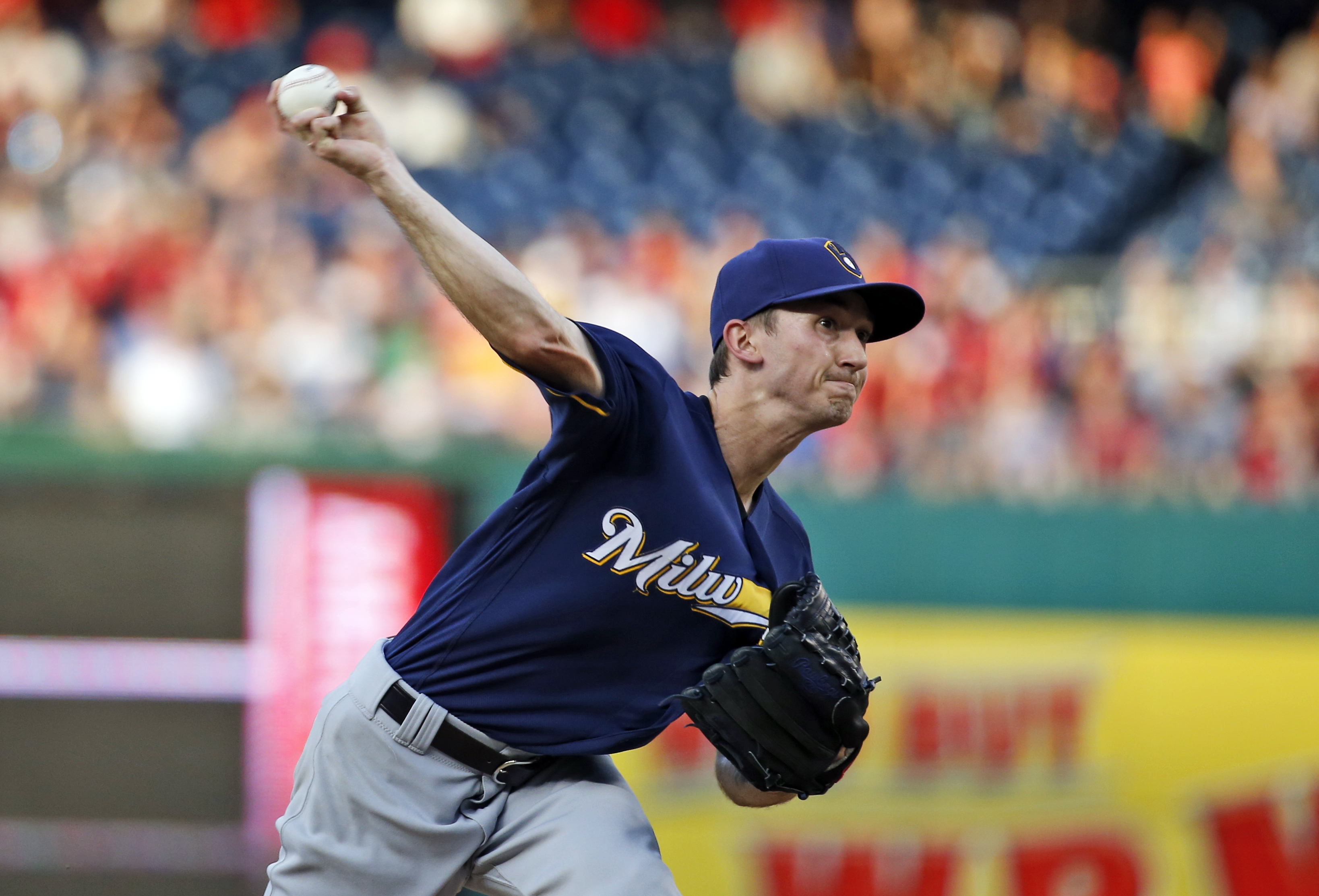 Milwaukee Brewers starting pitcher Zach Davies throws during a baseball game against the Washington Nationals at Nationals Park, Tuesday, July 5, 2016, in Washington. (AP Photo/Alex Brandon)
