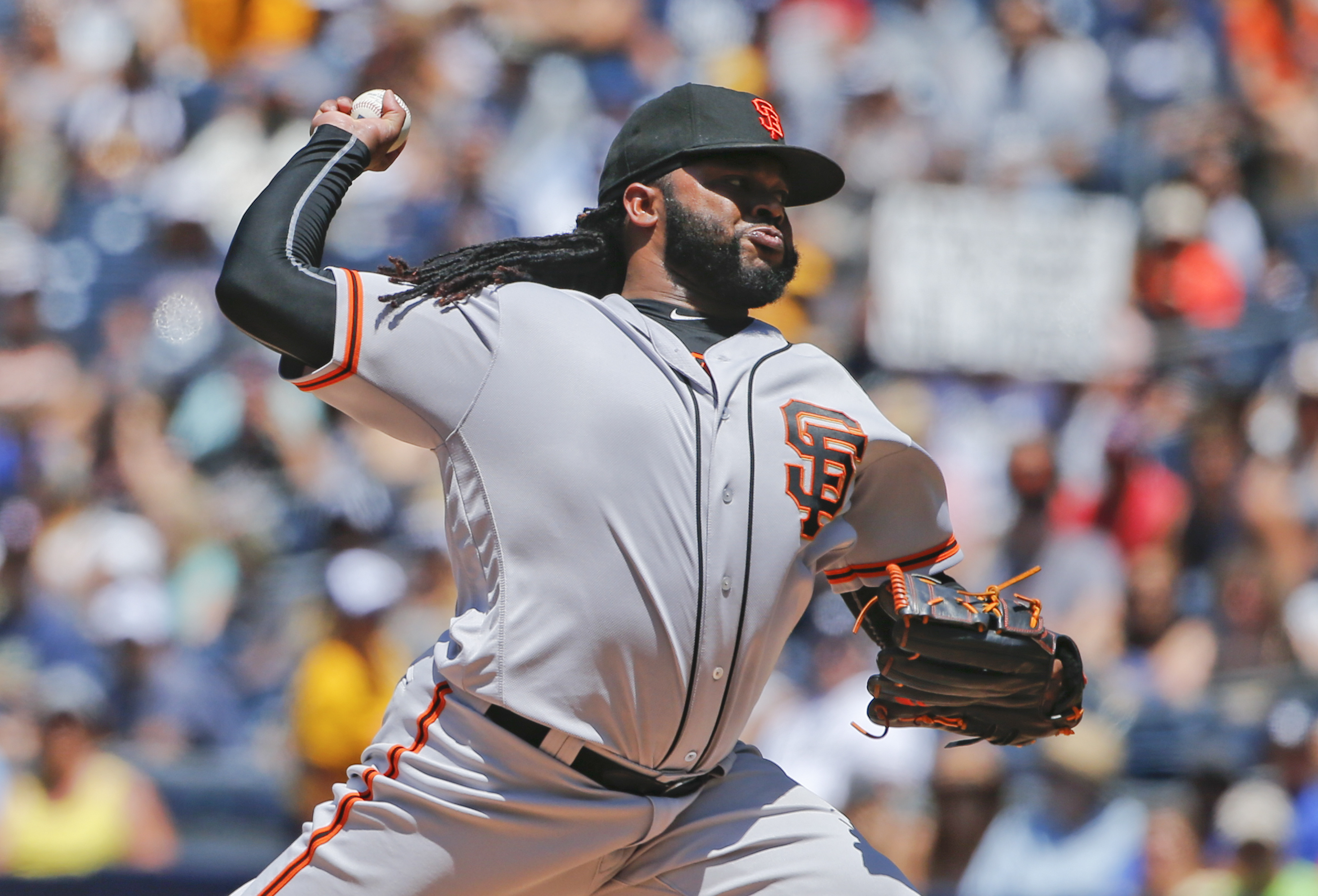 San Francisco Giants starter Johnny Cueto works against the San Diego Padres in the first inning of a baseball game Sunday, July 17, 2016, in San Diego. (AP Photo/Lenny Ignelzi)