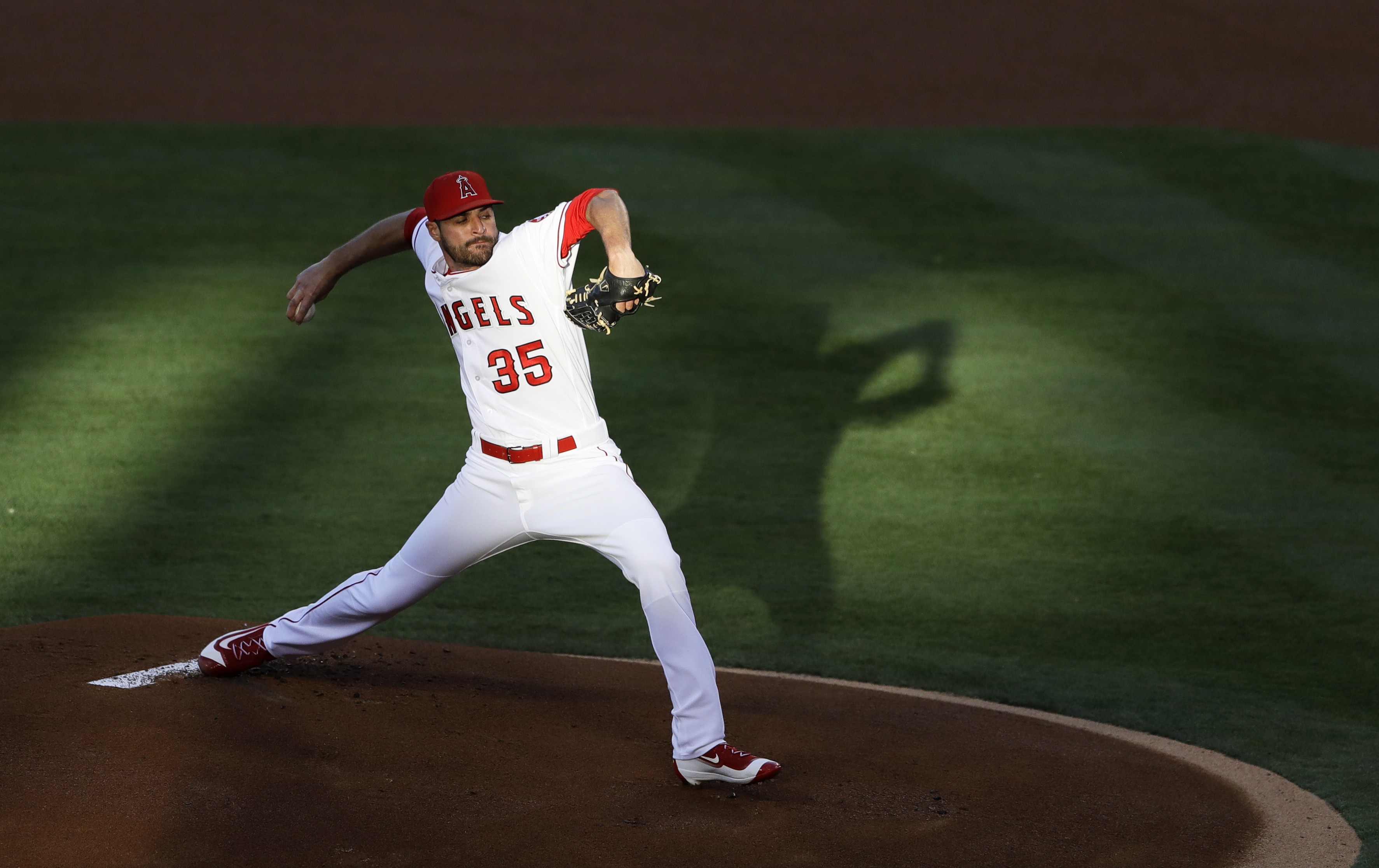 Los Angeles Angels starting pitcher Nick Tropeano works against a Texas Rangers batter during the first inning of a baseball game Monday, July 18, 2016, in Anaheim, Calif. (AP Photo/Gregory Bull)