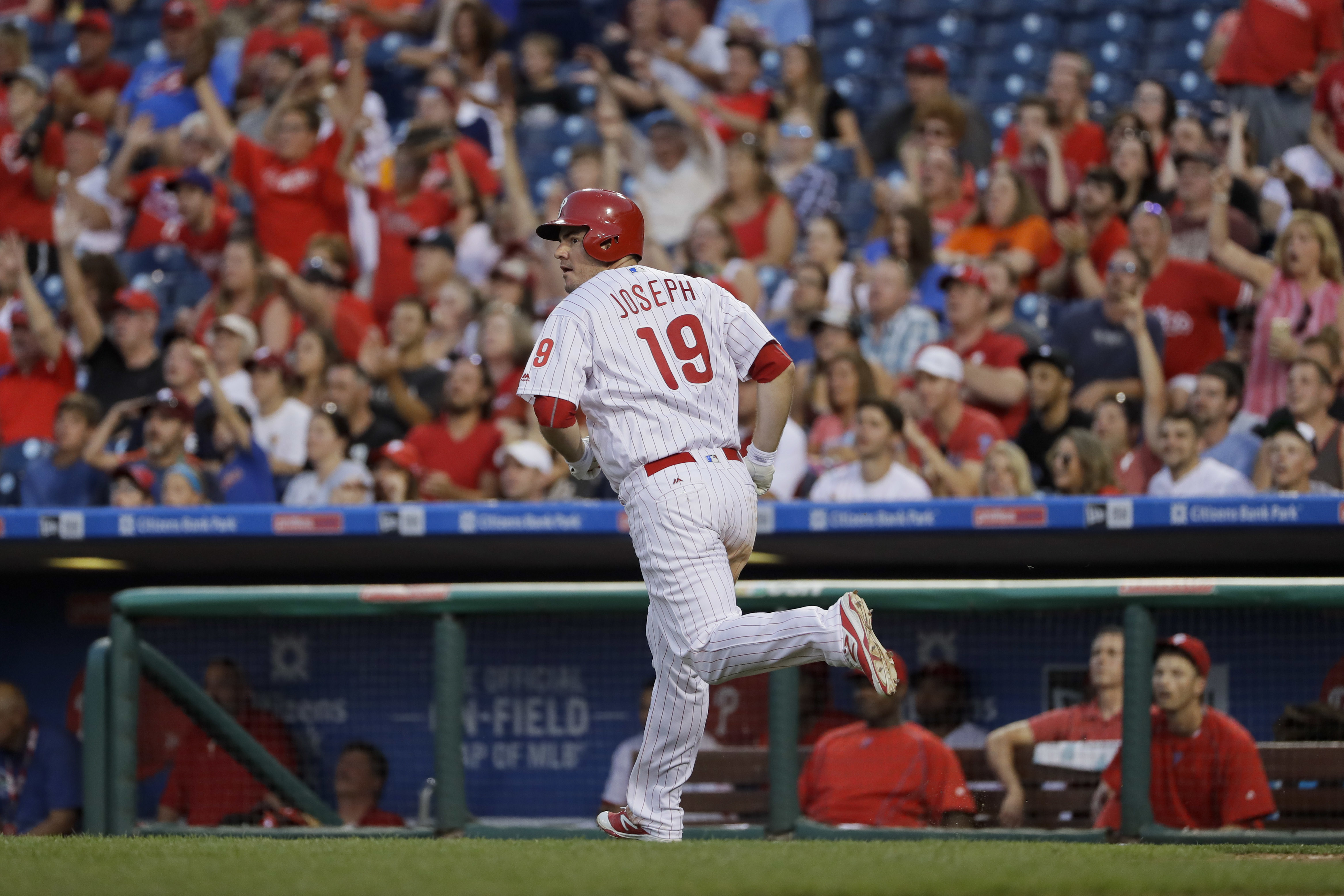 Philadelphia Phillies' Tommy Joseph rounds the bases after hitting a home run off Miami Marlins starting pitcher Jose Urena during the fourth inning of a baseball game, Tuesday, July 19, 2016, in Philadelphia. (AP Photo/Matt Slocum)