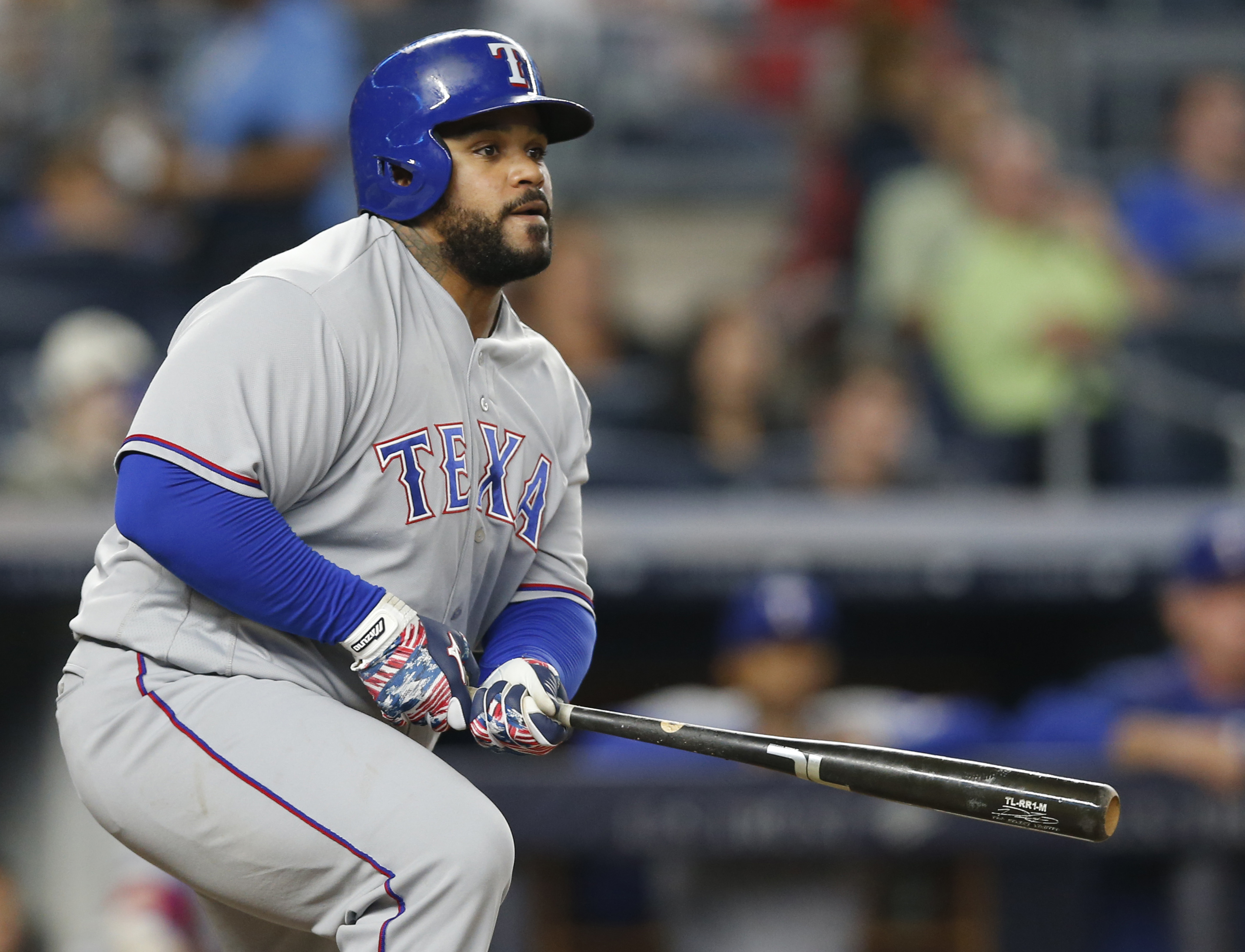 FILE - In this Tuesday, June 28, 2016 file photo Texas Rangers' Prince Fielder watches his eighth-inning RBI double during a baseball game against the New York Yankees in New York.  Texas Rangers slugger Prince Fielder is facing the prospect of season-end