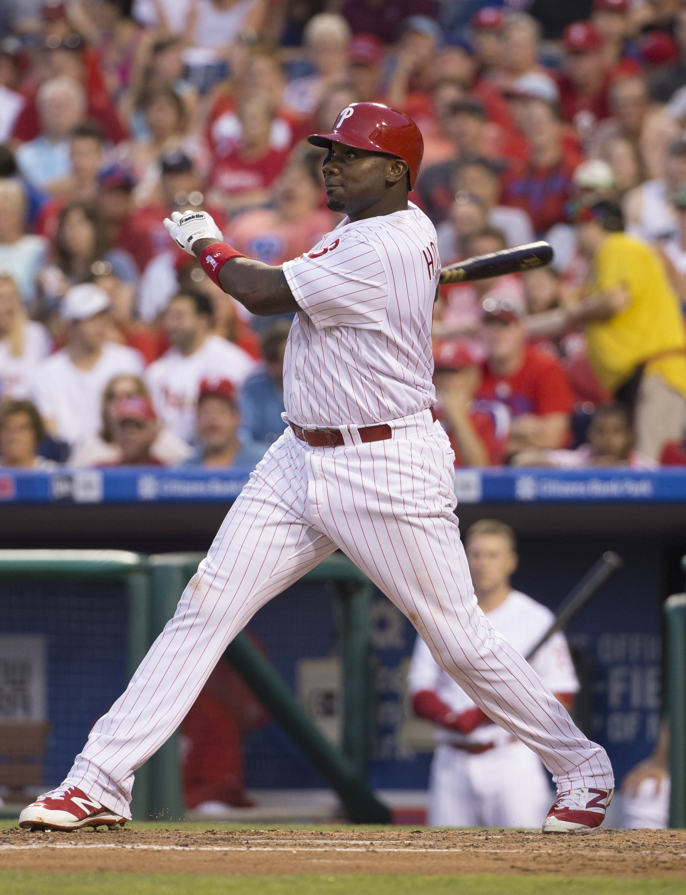 Philadelphia Phillies' Ryan Howard hits a two run home run during the fourth inning of a baseball game against the Miami Marlins, Thursday, July 21, 2016, in Philadelphia. (AP Photo/Chris Szagola)
