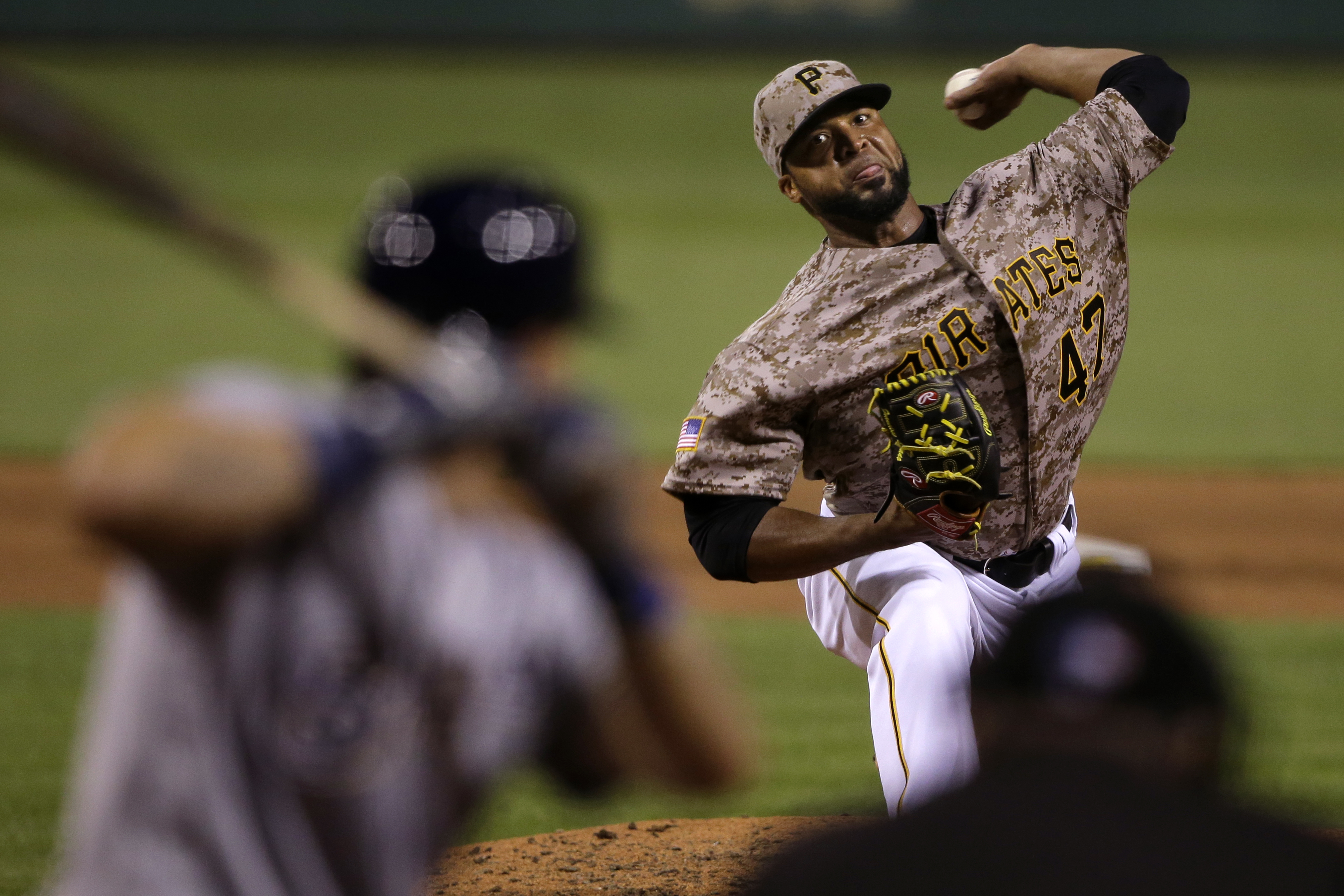Pittsburgh Pirates starting pitcher Francisco Liriano delivers during the seventh inning of a baseball game against the Milwaukee Brewers in Pittsburgh, Thursday, July 21, 2016. (AP Photo/Gene J. Puskar)
