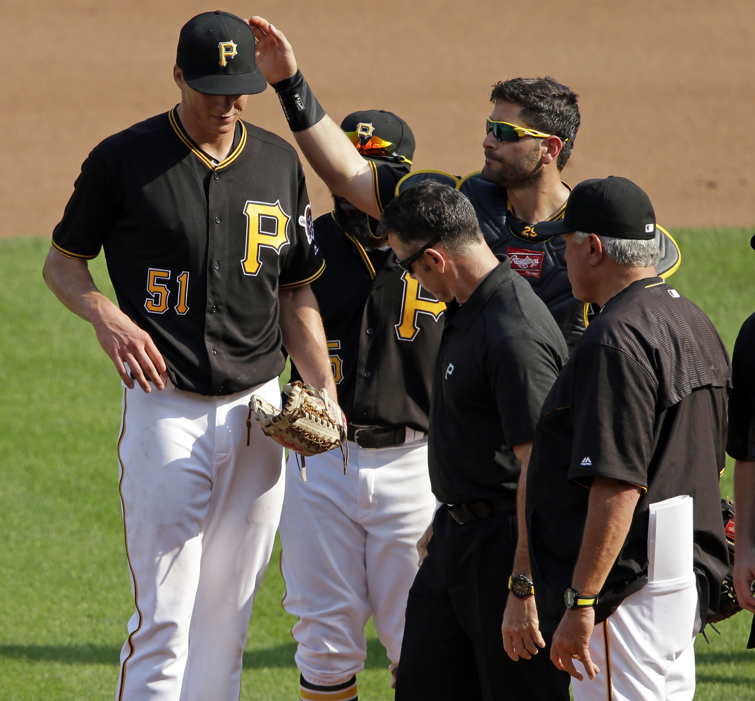Pittsburgh Pirates starting pitcher Tyler Glasnow (51) walks off the mound with shoulder discomfort during the fourth inning of a baseball game against the Philadelphia Phillies in Pittsburgh, Saturday, July 23, 2016. The Pirates won 7-4. (AP Photo/Gene J