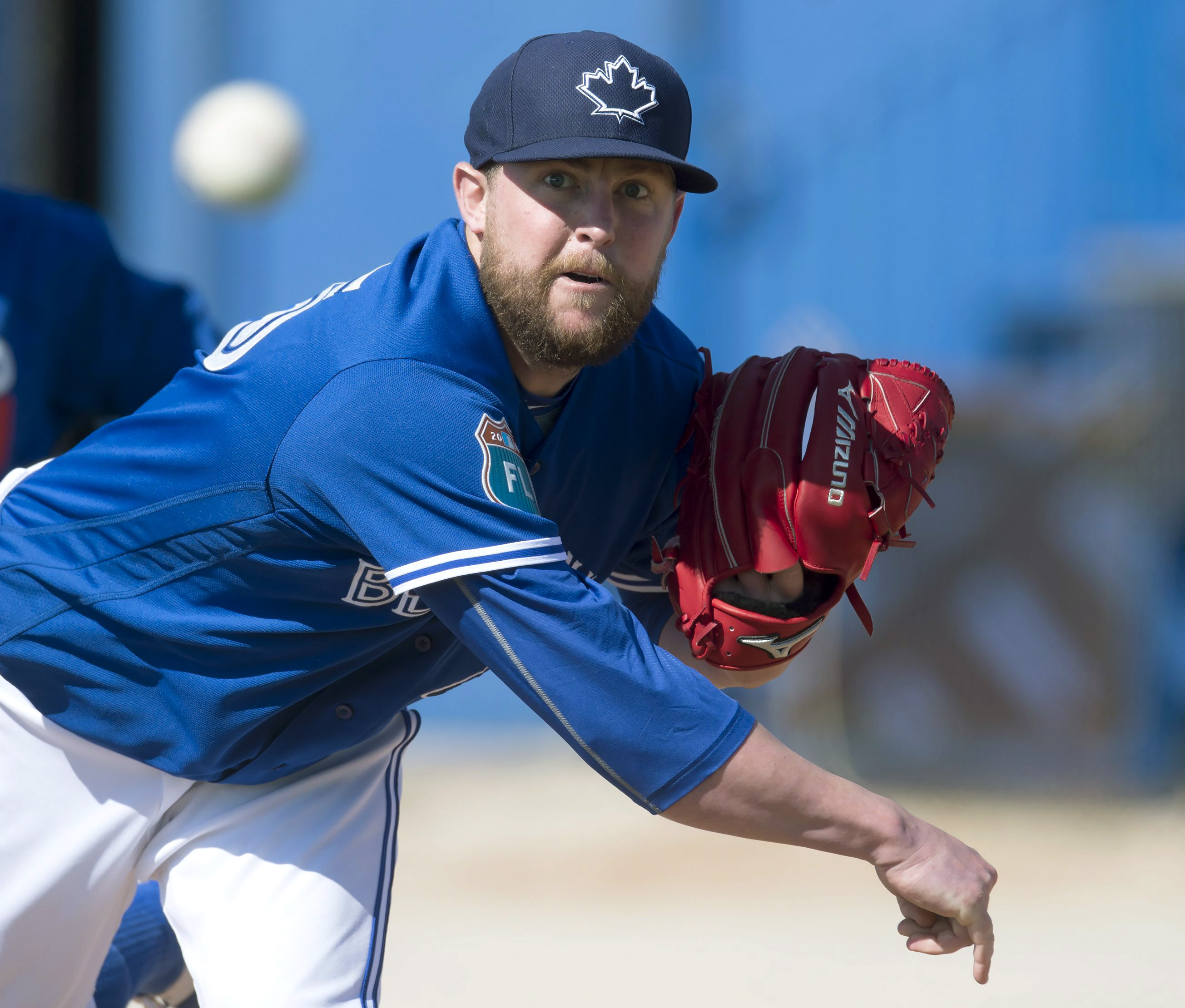 FILE - In this  Feb. 25, 2016, file photo, Toronto Blue Jays pitcher Drew Storen pitches during baseball spring training in Dunedin, Fla. Struggling relief pitcher Storen had been designated for assignment by the Blue Jays. (Frank Gunn /The Canadian Press