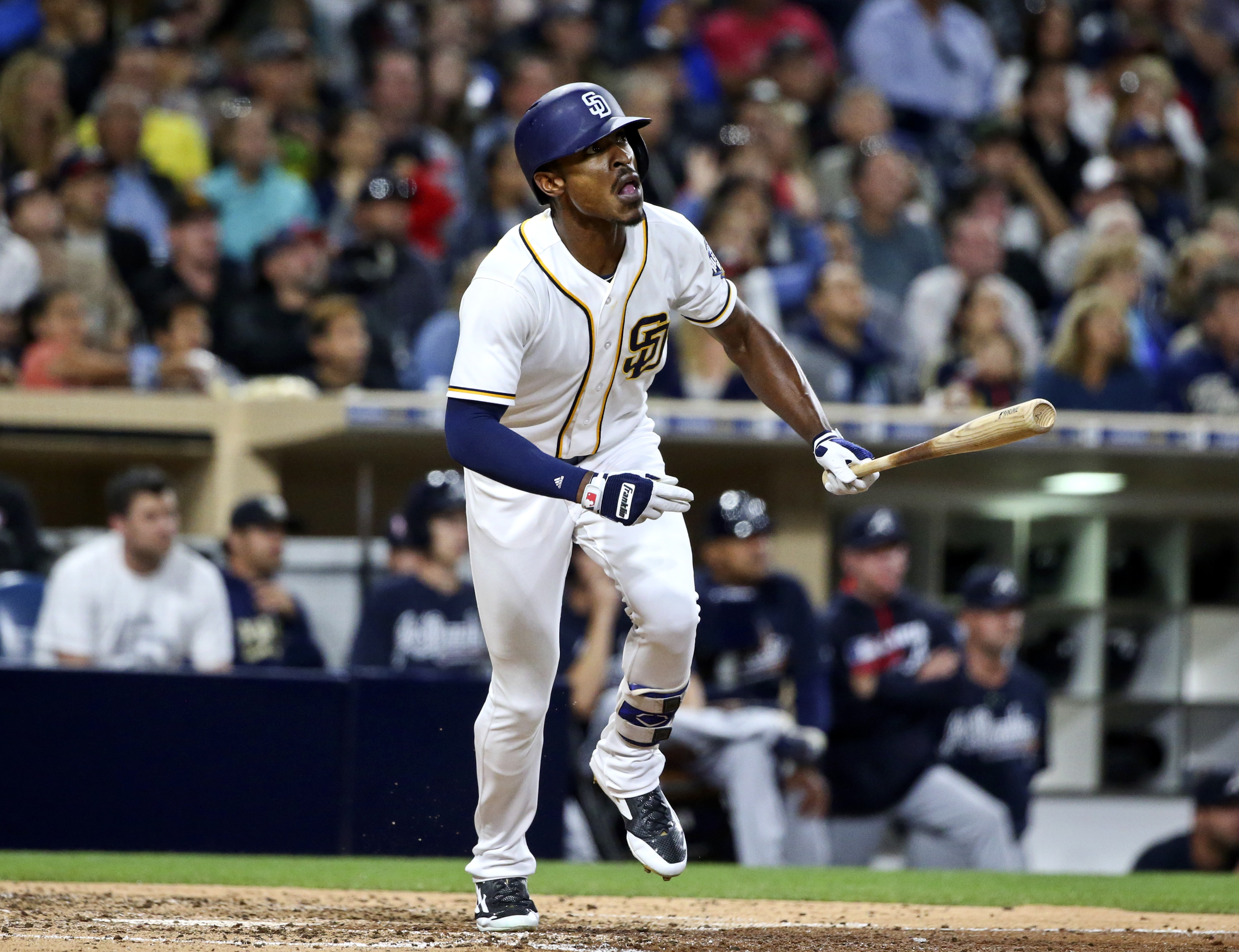 FILE - In this June 7, 2016, file photo, San Diego Padres' Melvin Upton Jr. watches his RBI line-out against the Atlanta Braves during the fifth inning of a baseball game, in San Diego. The Padres have traded left fielder Melvin Upton Jr. to the Toronto B