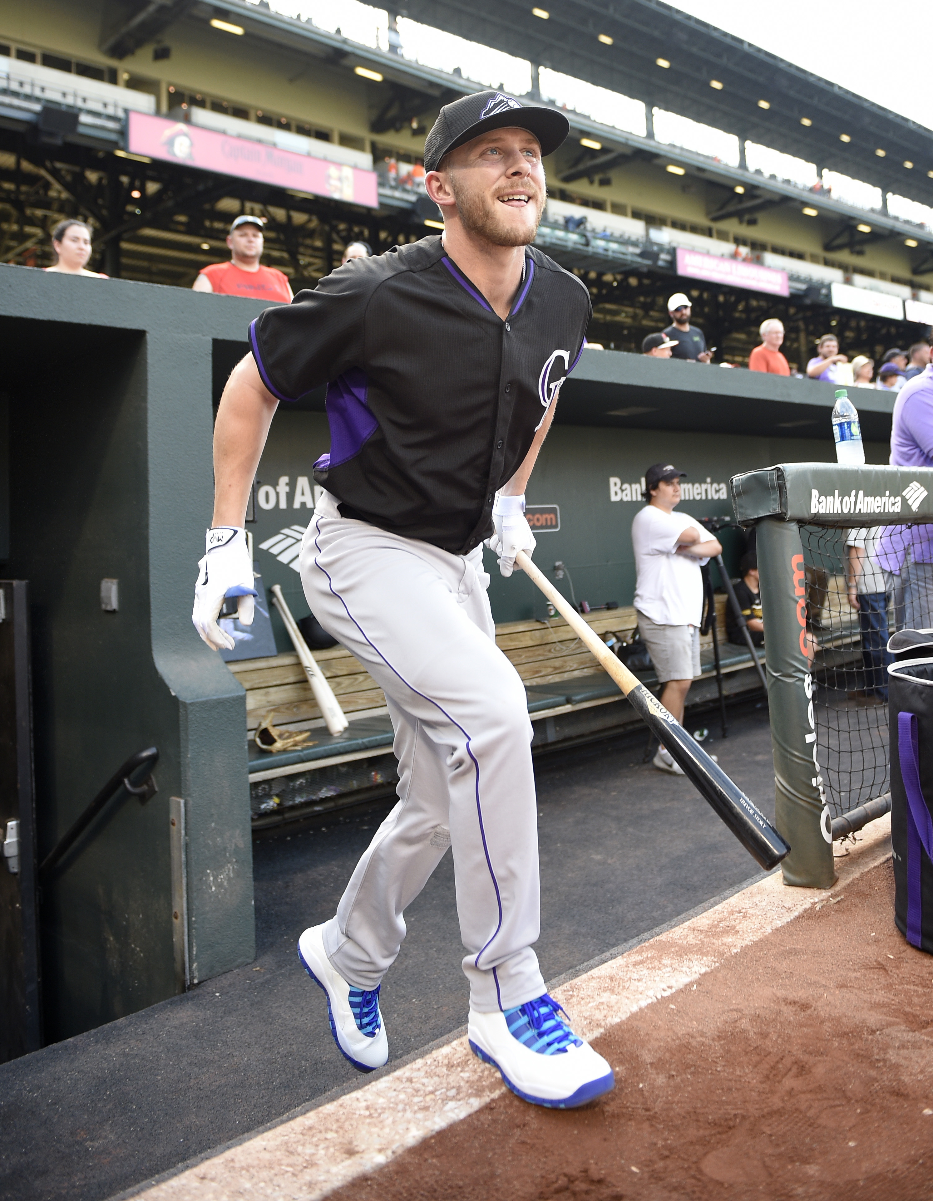 Colorado Rockies' Trevor Story steps from the dugout for batting practice before an interleague baseball game against the Baltimore Orioles, Tuesday, July 26, 2016, in Baltimore. (AP Photo/Nick Wass)