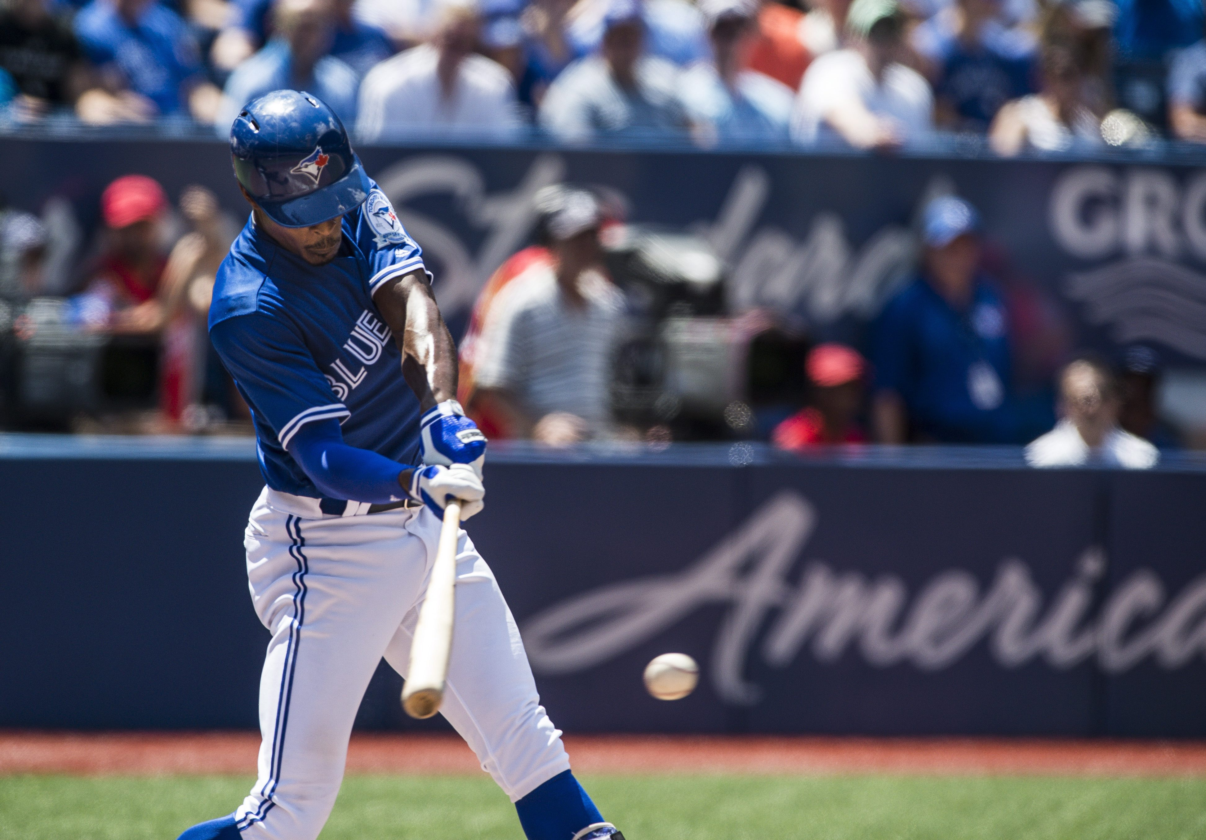 Toronto Blue Jays Melvin Upton Jr. hits a single against the San Diego Padres during the sixth inning of an interleague baseball game in Toronto, Wednesday, July 27, 2016. (Aaron Vincent Elkaim/The Canadian Press via AP)