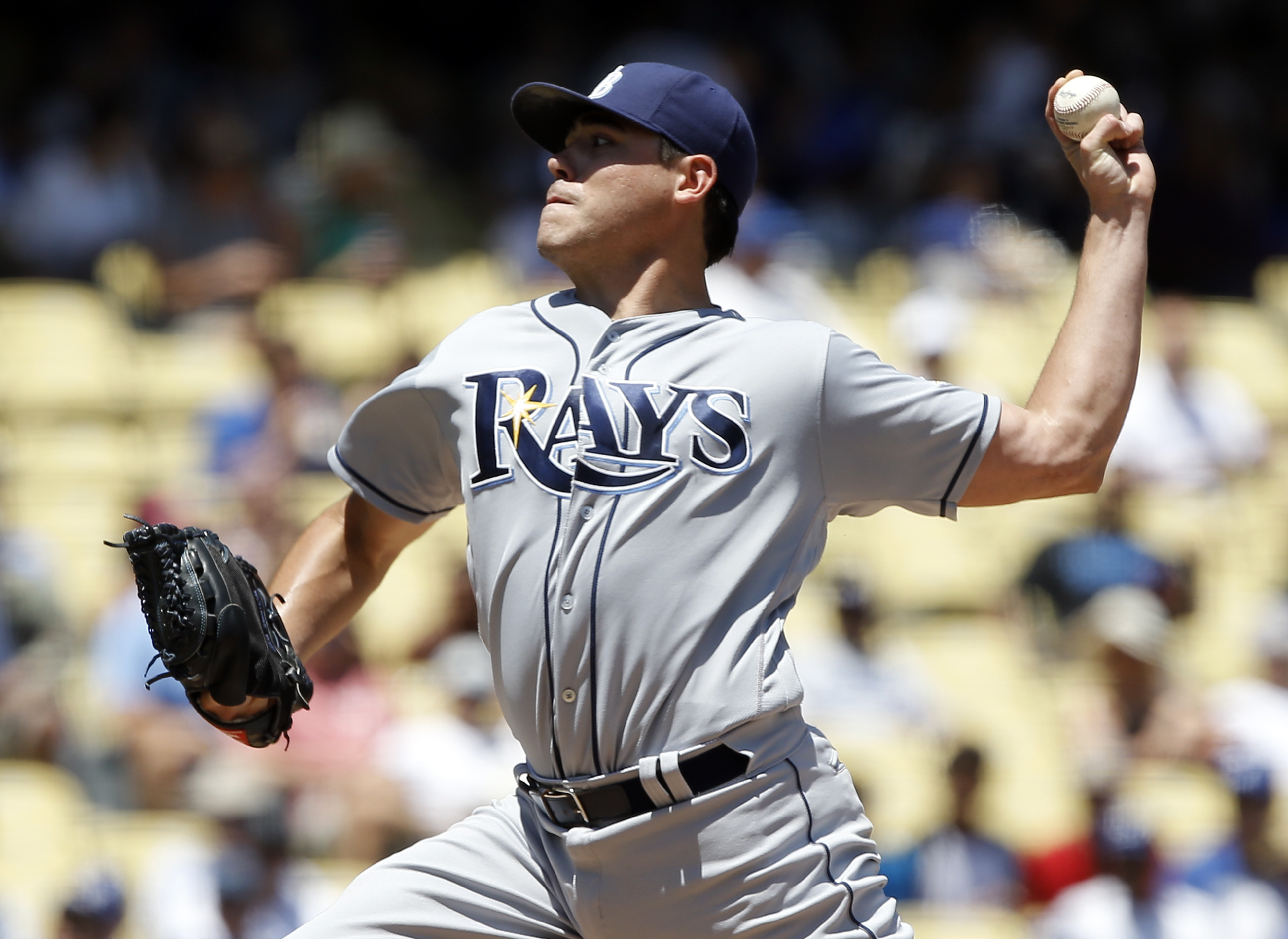 Tampa Bay Rays starting pitcher Matt Moore throws to the plate against the Los Angeles Dodgers during the second inning inning of a baseball game in Los Angeles, Wednesday, July 27, 2016. (AP Photo/Alex Gallardo)