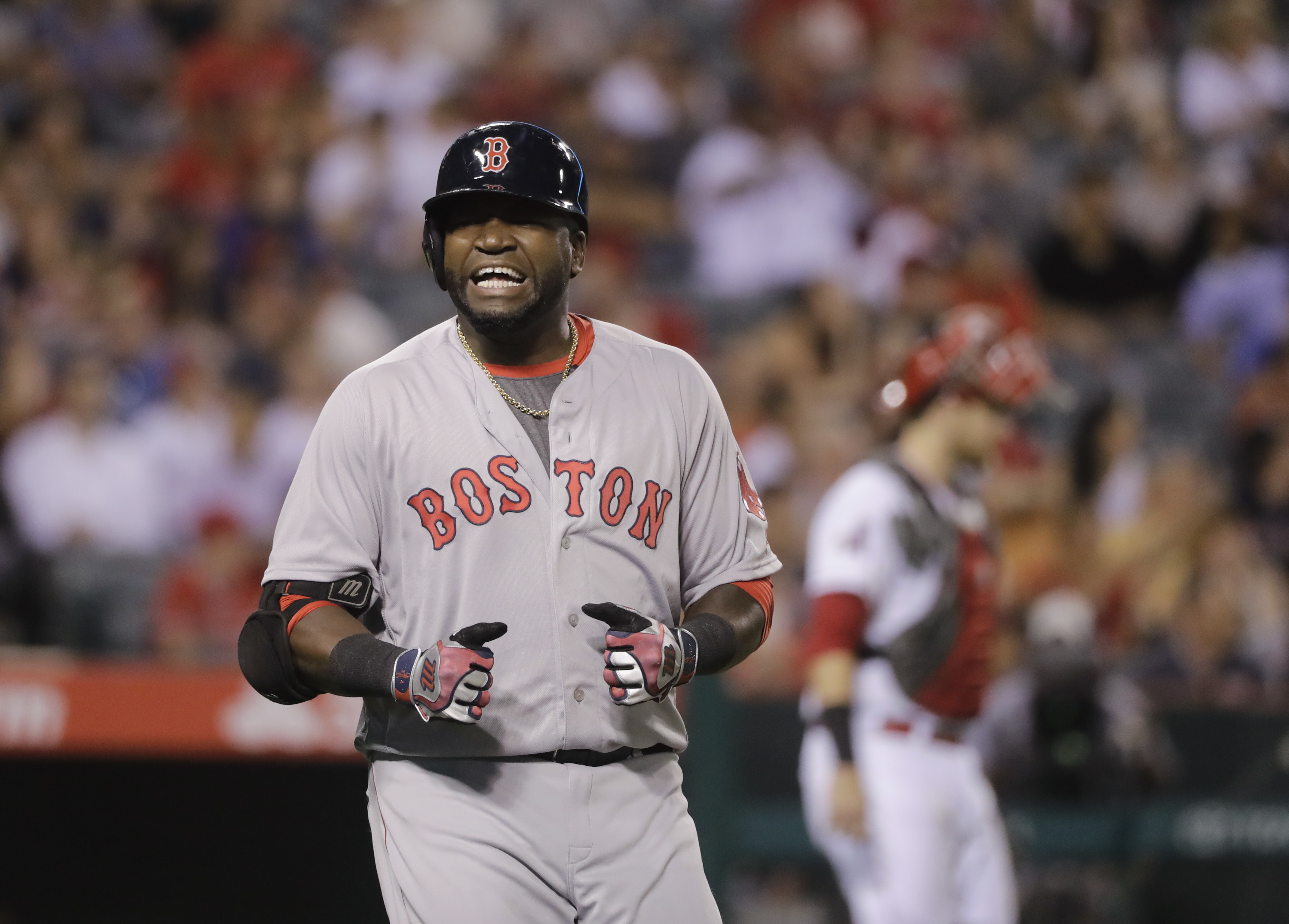 Boston Red Sox's David Ortiz reacts after he flied out during the ninth inning of a baseball game against the Los Angeles Angels, Thursday, July 28, 2016, in Anaheim, Calif. The Angels won 2-1. (AP Photo/Jae C. Hong)