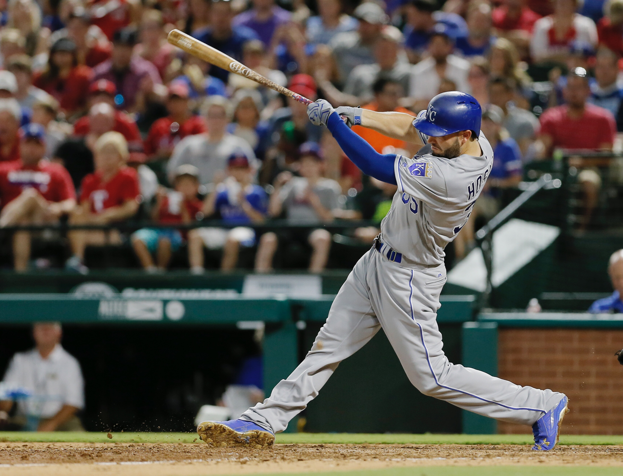 Kansas City Royals' Eric Hosmer swings for a two-run home run during the sixth inning of a baseball game against the Texas Rangers on Friday, July 29, 2016, in Arlington, Texas. (AP Photo/Brandon Wade)