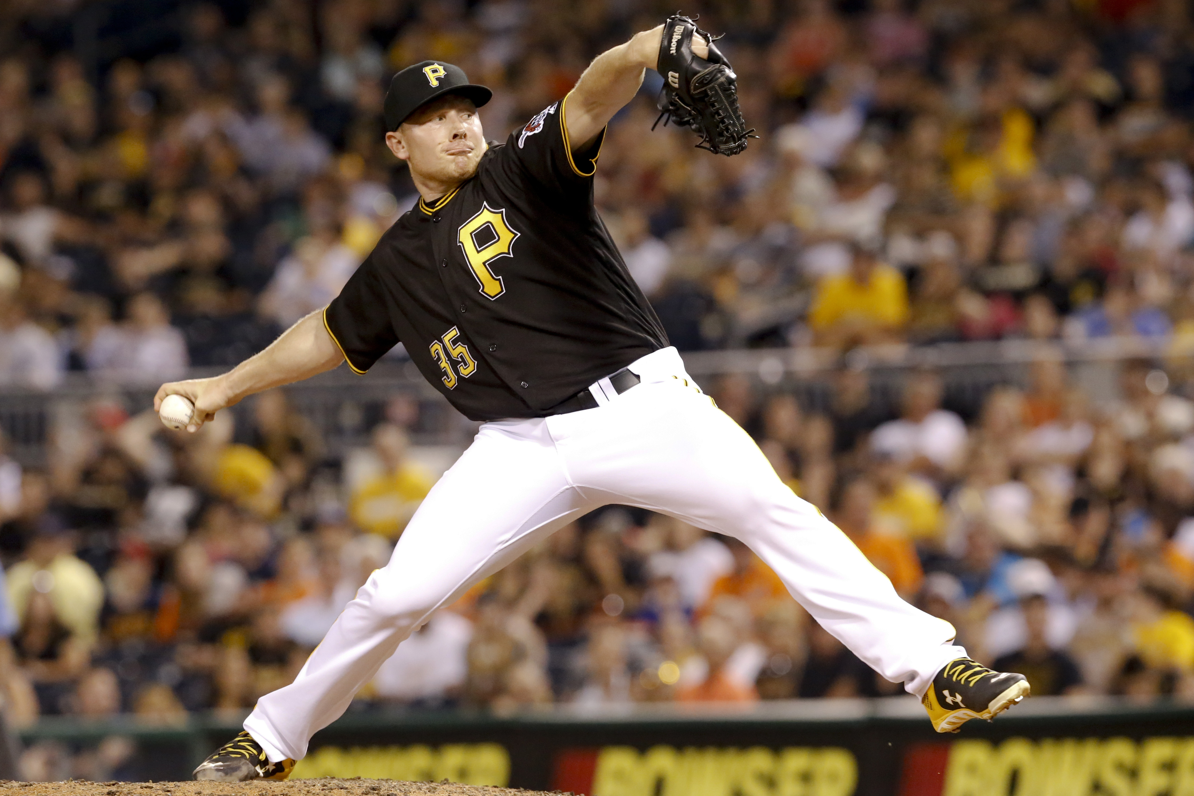 FILE - In this June 20, 2016, file photo, Pittsburgh Pirates relief pitcher Mark Melancon throws against the San Francisco Giants during a baseball game in Pittsburgh. Washington sent reliever Felipe Rivero and pitching prospect Taylor Hearn to the Pirate