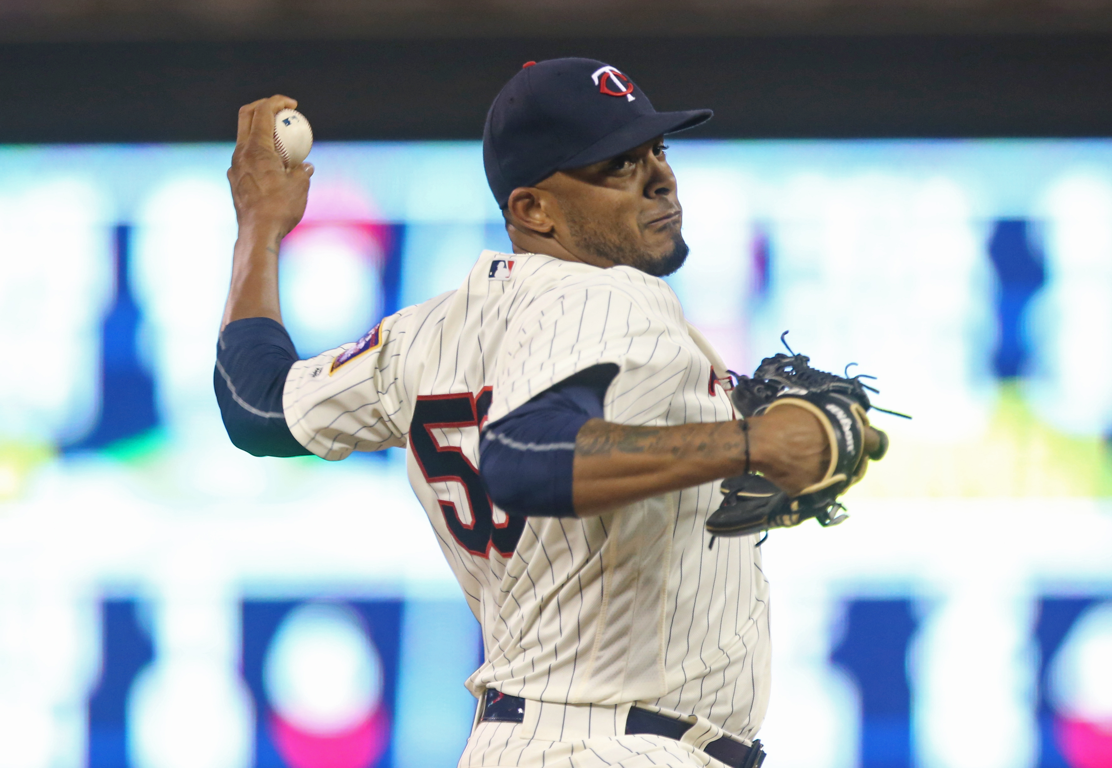 Minnesota Twins pitcher Fernando Abad throws against the Cleveland Indians in a baseball game Saturday, July 16, 2016, in Minneapolis. (AP Photo/Jim Mone)