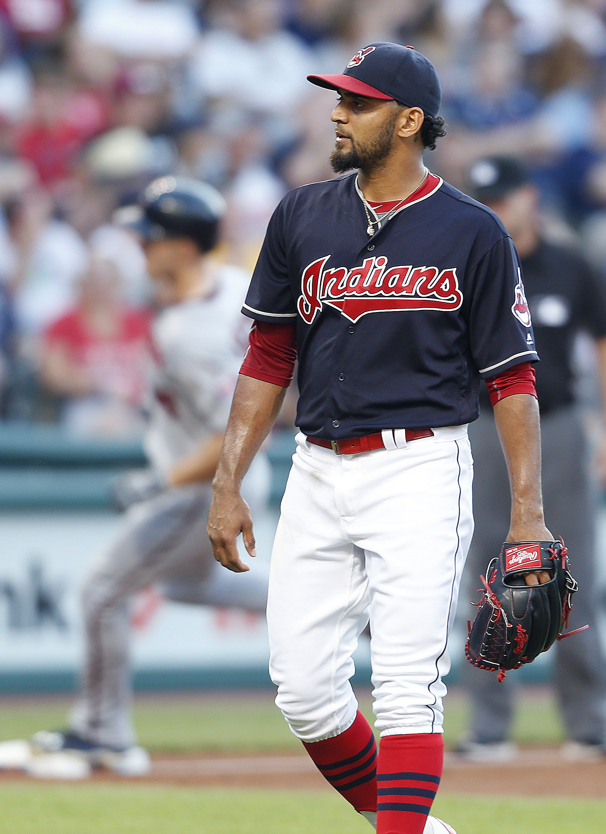 Cleveland Indians starting pitcher Danny Salazar (31) walks back to the mound after giving up a two run home run to Minnesota Twins' Max Kepler during the third inning of a baseball game Monday, Aug. 1, 2016, in Cleveland. The home run was Kepler's second