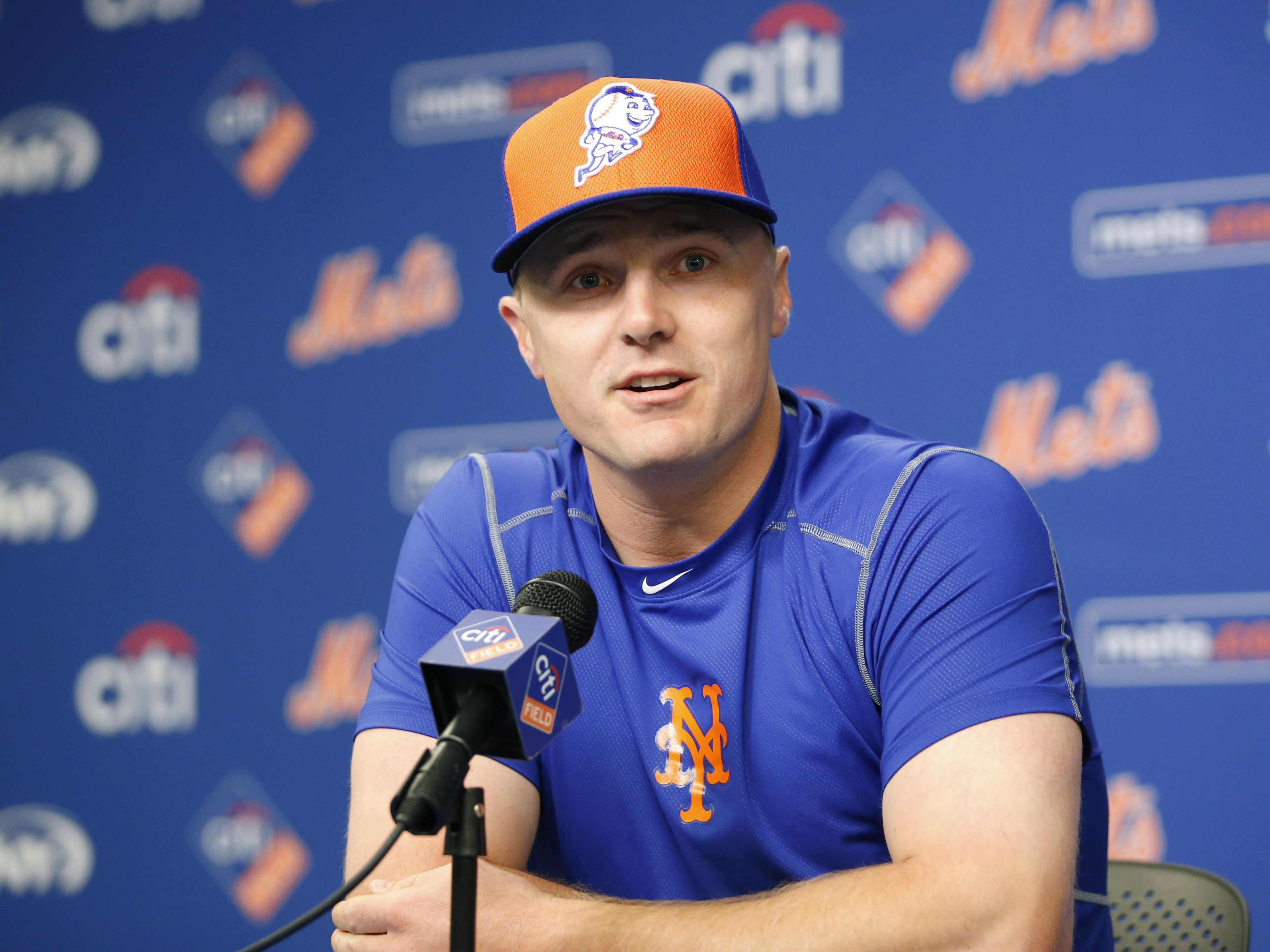 New York Mets outfielder Jay Bruce speaks to the media during an introductory press before playing in his first baseball game as a Met, Tuesday, Aug. 2, 2016, in New York. The Mets obtained Bruce from the Cincinnati Reds for young infielder Dilson Herrera
