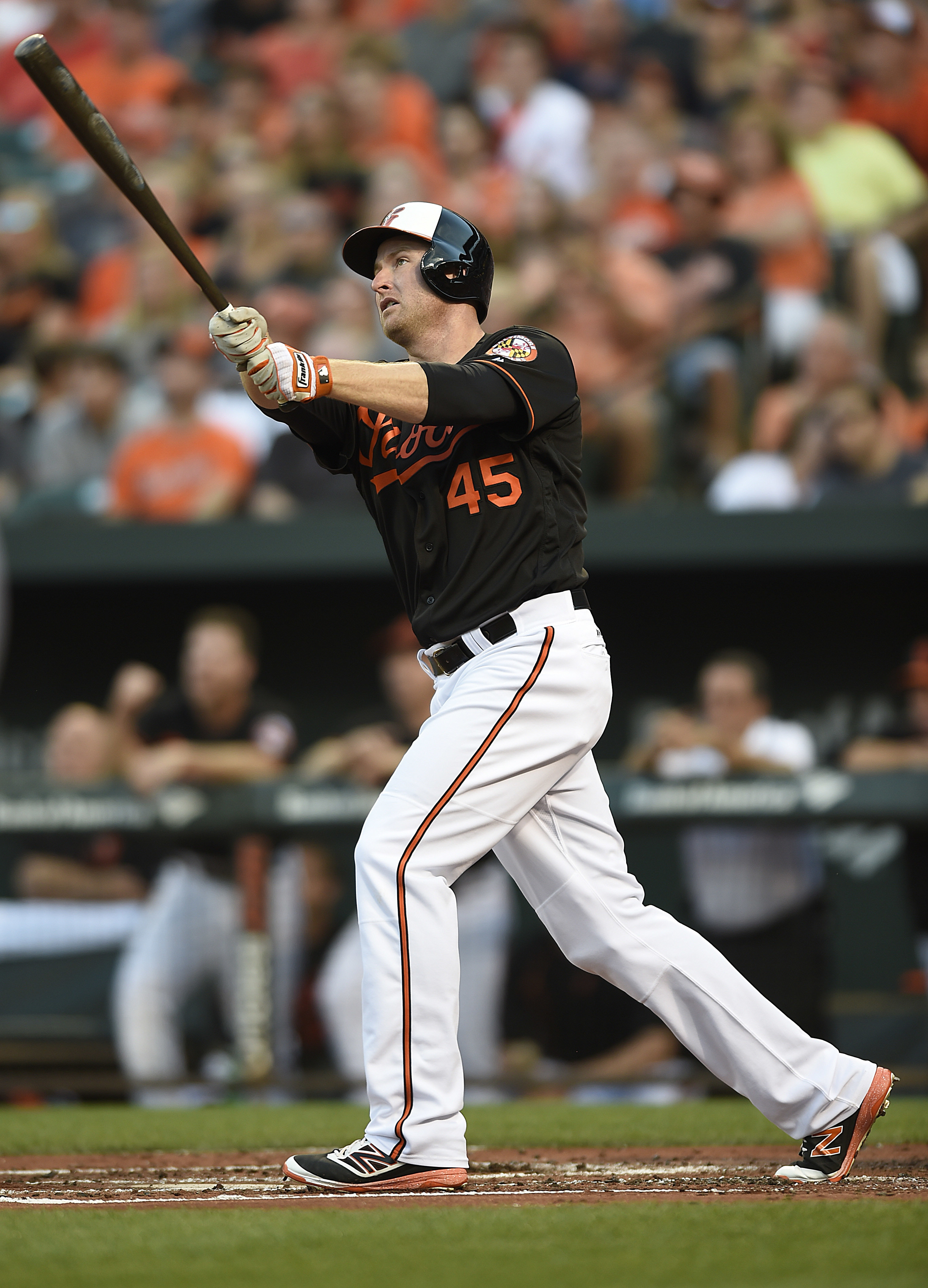 FILE - In this July 22, 2016, file photo, Baltimore Orioles' Mark Trumbo follows through on a three-run home run against the Cleveland Indians in the first inning of a baseball game, in Baltimore. Coming off another series win at Camden Yards, this time o