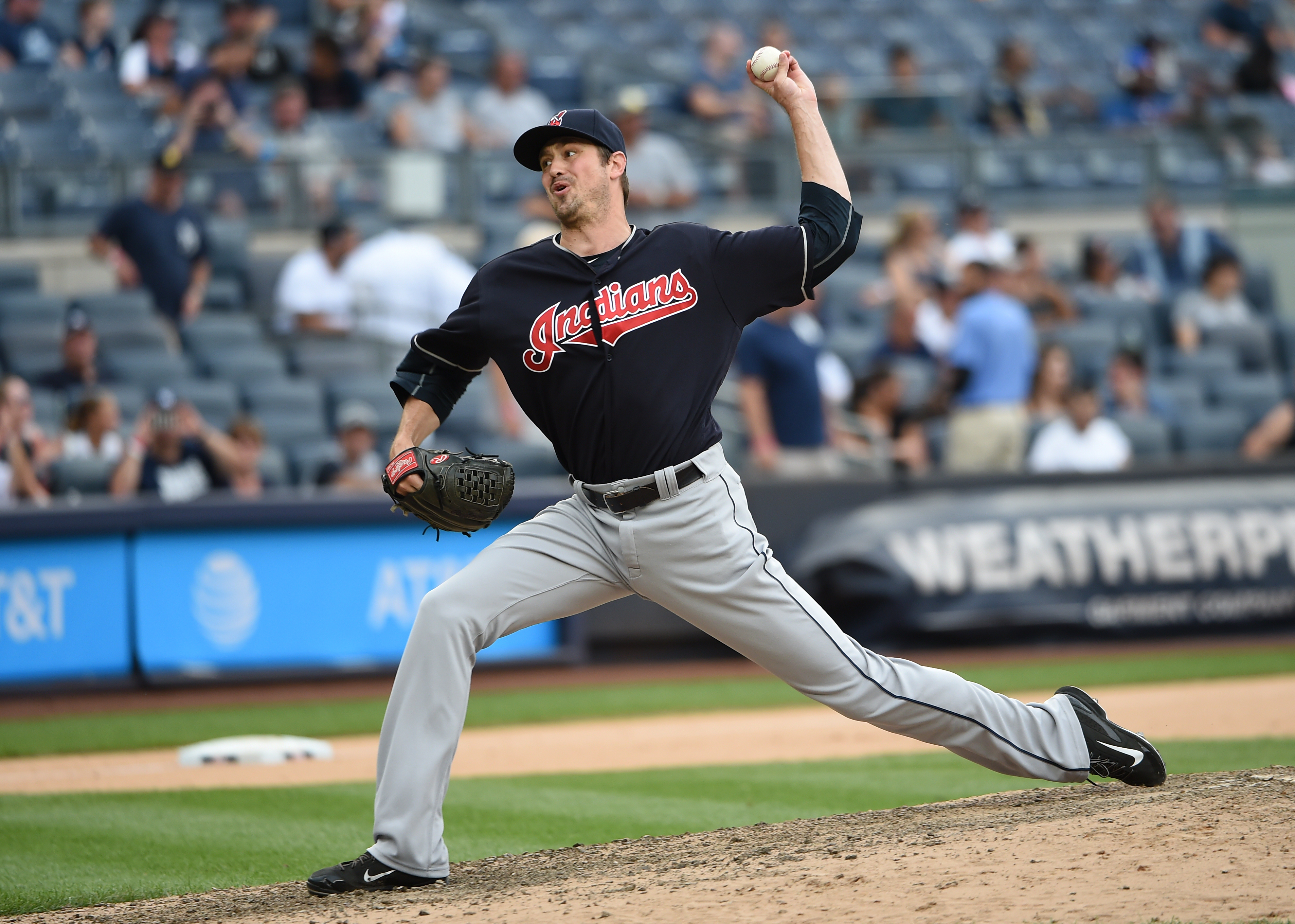 Cleveland Indians reliever Andrew Miller pitches against the New York Yankees in the ninth inning of a baseball game, Saturday, Aug. 6, 2016, in New York. The Indians won 5-2. (AP Photo/Kathy Kmonicek)