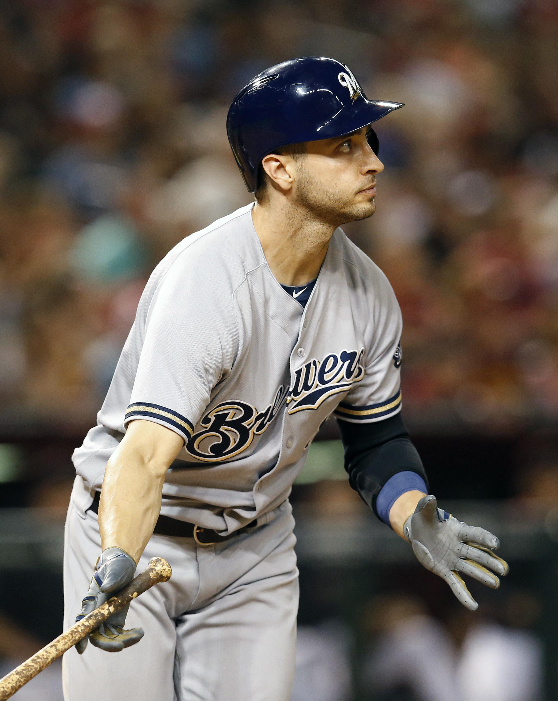 Milwaukee Brewers Ryan Braun hits his second three run home run in the seventh inning during a baseball game against the Arizona Diamondbacks, Saturday, Aug. 6, 2016, in Phoenix. (AP Photo/Rick Scuteri)