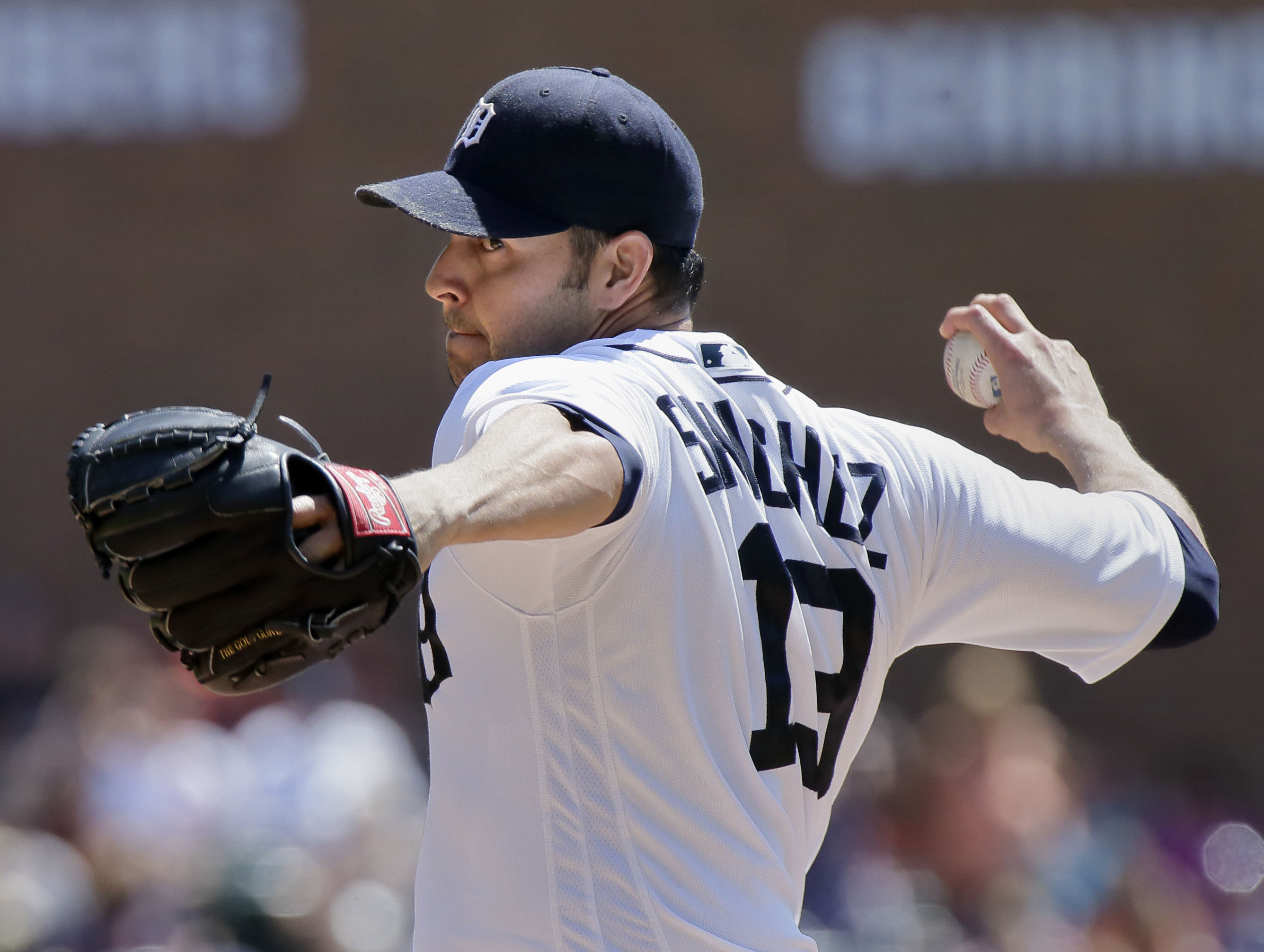 Detroit Tigers' Anibal Sanchez pitches against the New York Mets during the first inning of an interleague baseball game Sunday, Aug. 7, 2016, in Detroit. (AP Photo/Duane Burleson)