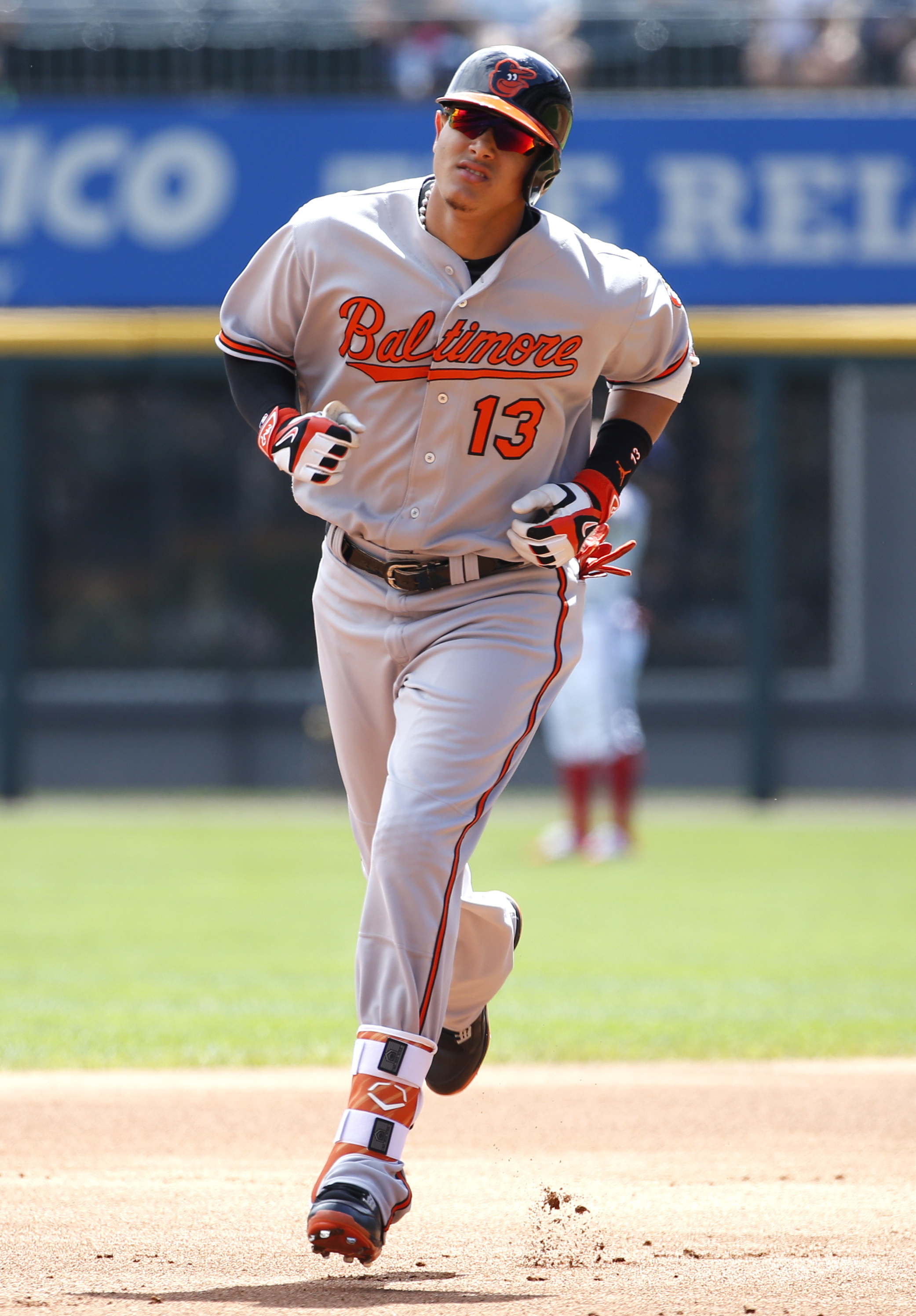 Baltimore Orioles' Manny Machado rounds the bases after hitting a two-run home run against the Chicago White Sox during the first inning of a baseball game in Chicago, Sunday, Aug. 7, 2016. (AP Photo/Nam Y. Huh)