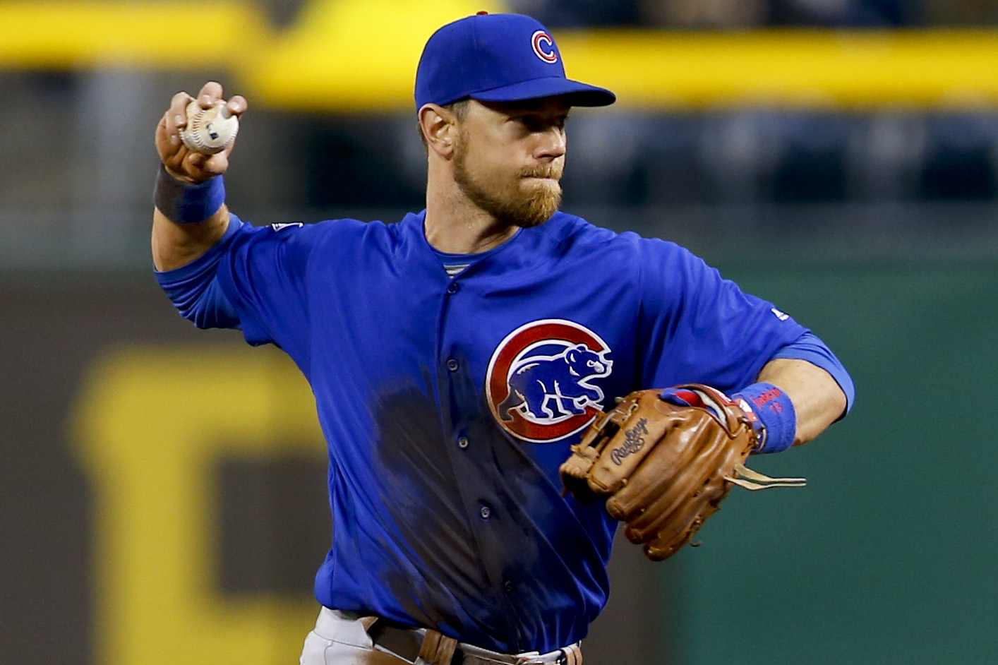 FILE - In this May 2, 2016, file photo, Chicago Cubs third baseman Tommy La Stella throws during the team's baseball game against the Pittsburgh Pirates in Pittsburgh. La Stella has refused to report to Triple-A Iowa after being optioned to the minors nea