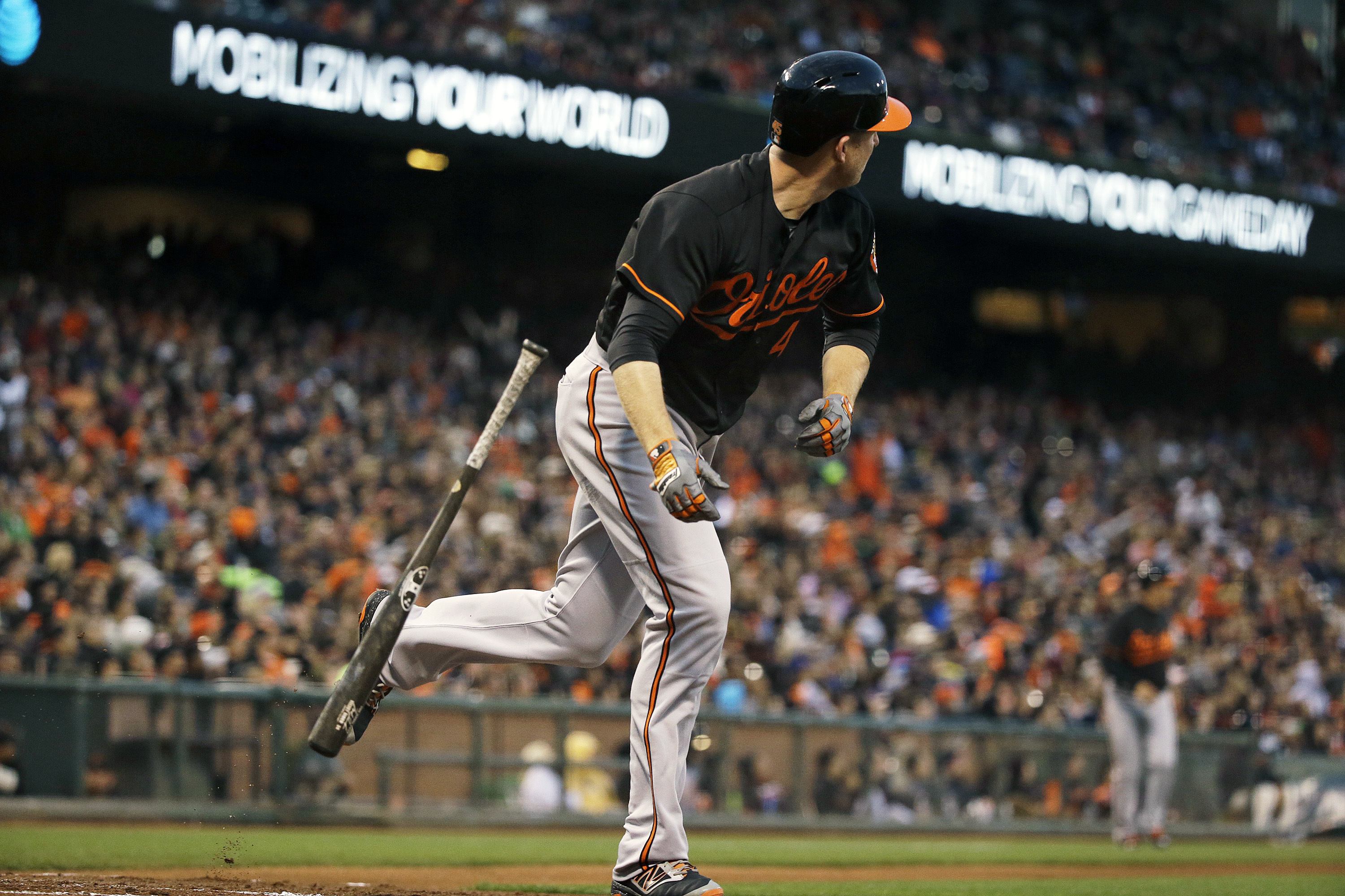 Baltimore Orioles' Mark Trumbo watches his two-run home run off San Francisco Giants starting pitcher Matt Cain in the third inning of a baseball game Friday, Aug. 12, 2016, in San Francisco. (AP Photo/Eric Risberg)